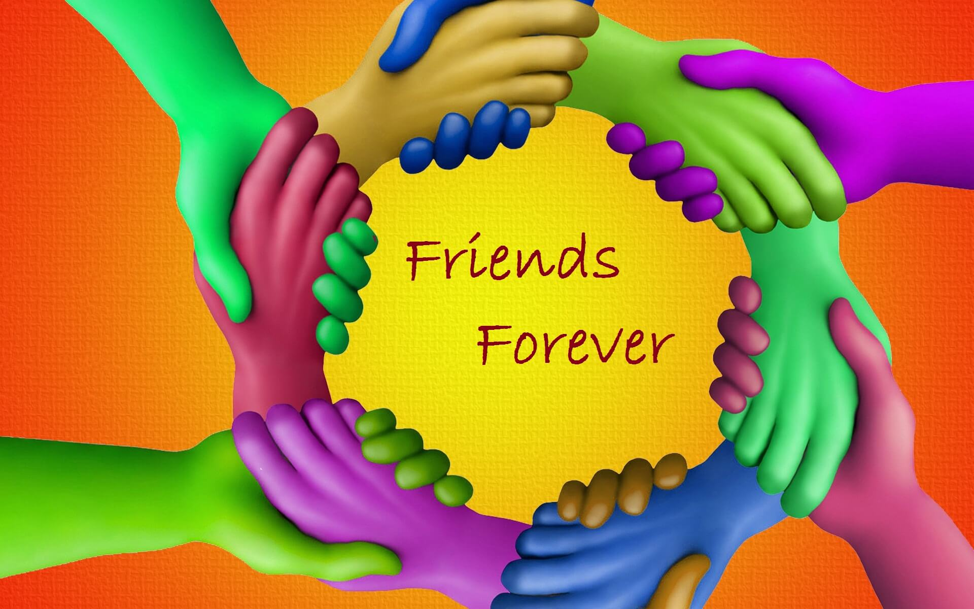 happy friendship day holding colorful friends hands wallpaper