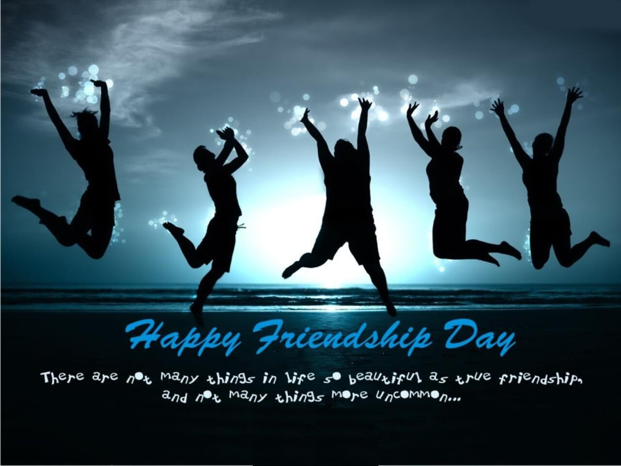 happy friendship day jumping with joy wallpaper