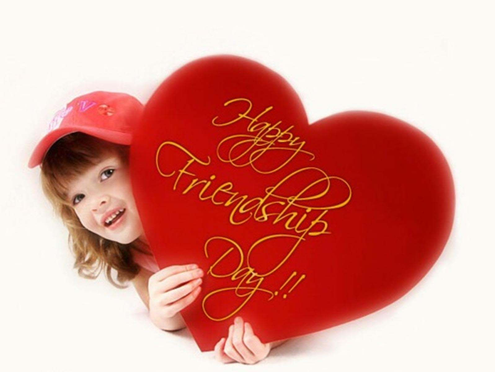 happy friendship day red heart wallpaper
