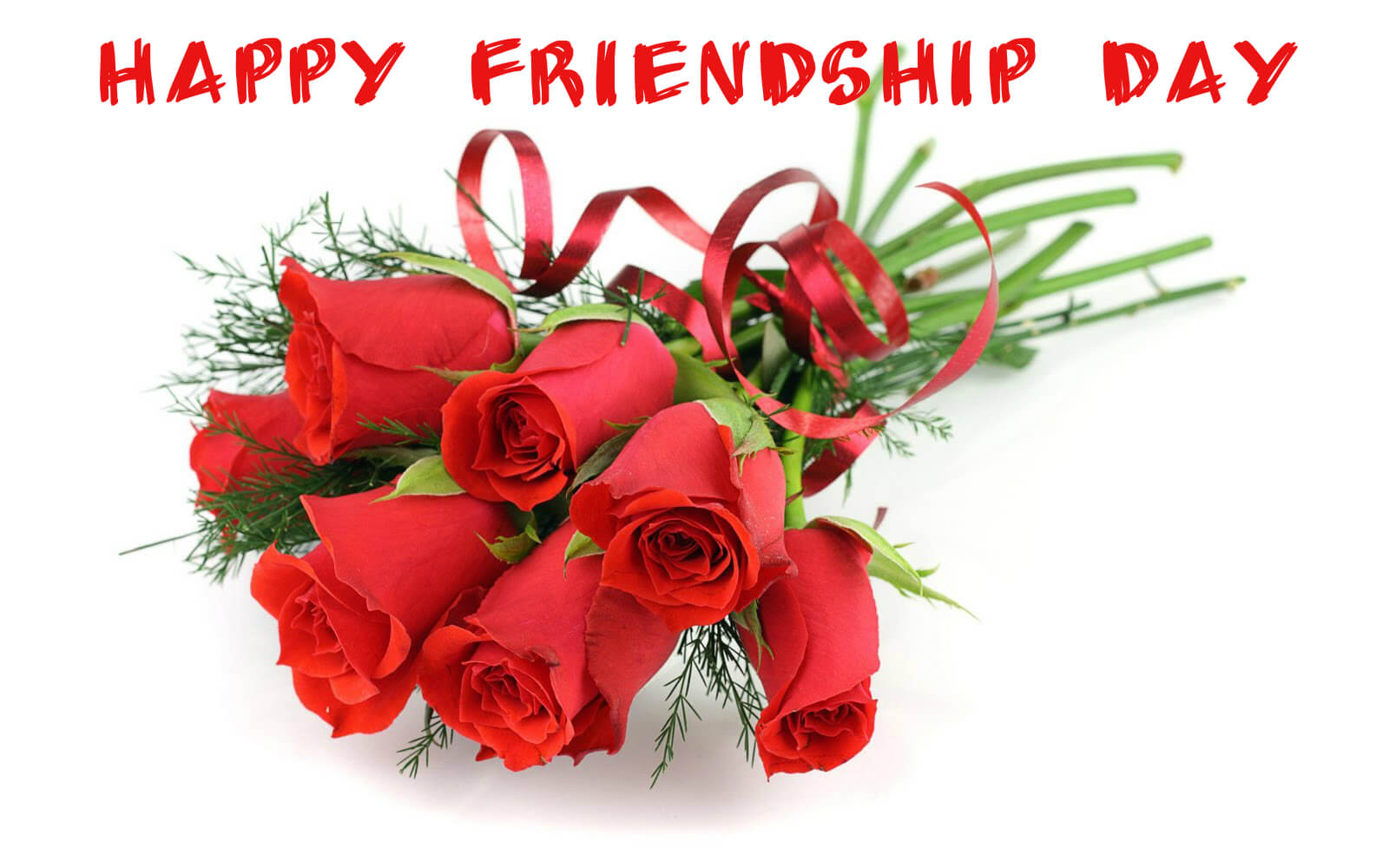 happy friendship day with bunch of rose flowers