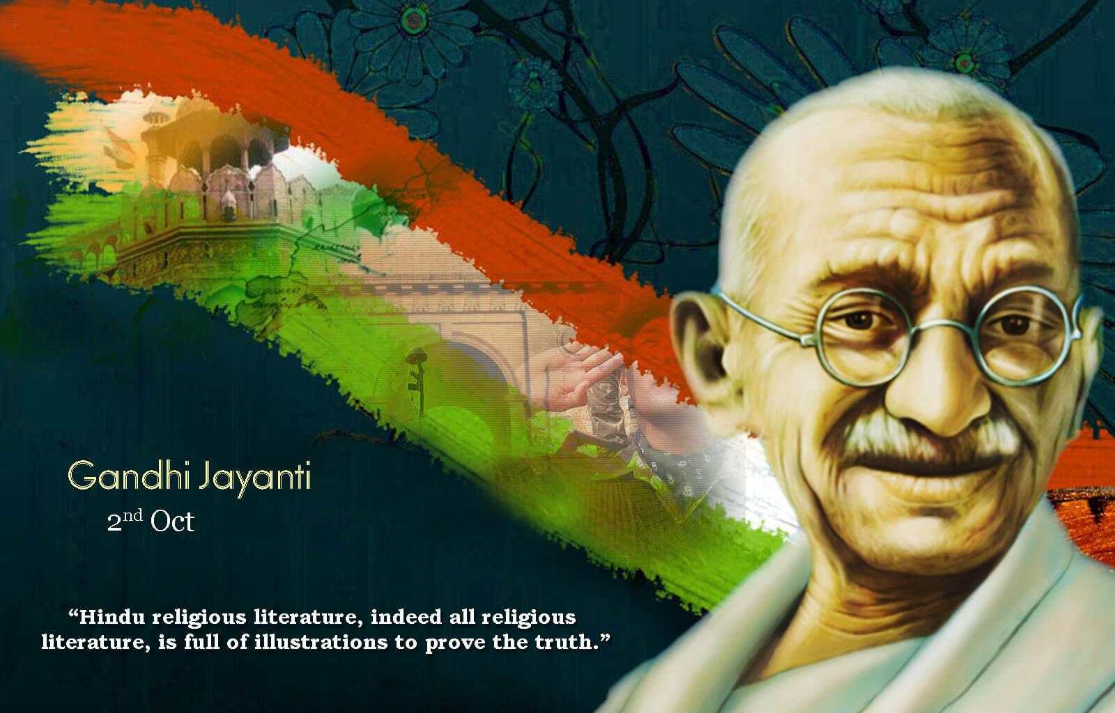 happy gandhi jayanti art new hd wallpaper