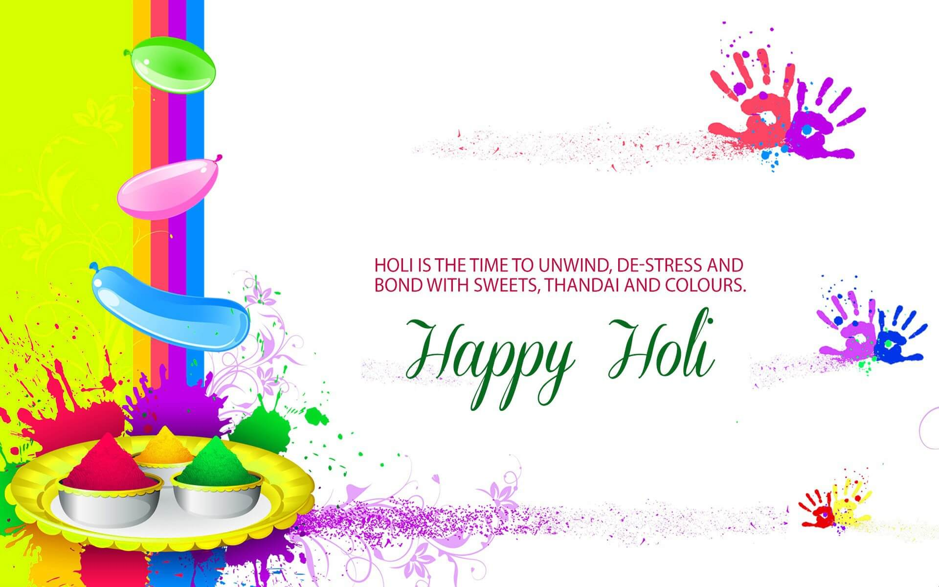 happy holi greetings wishes 3d hd free wallpaper