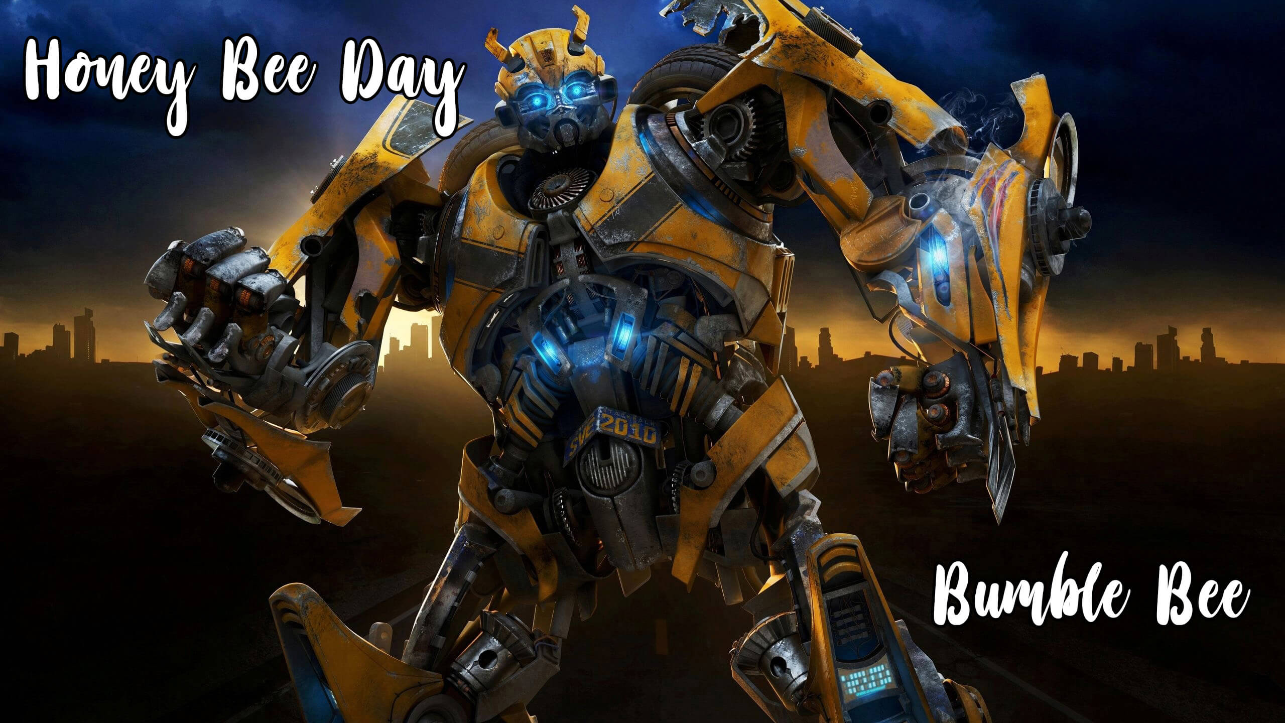 happy honey bee day transformers bumblebee hd wallpaper