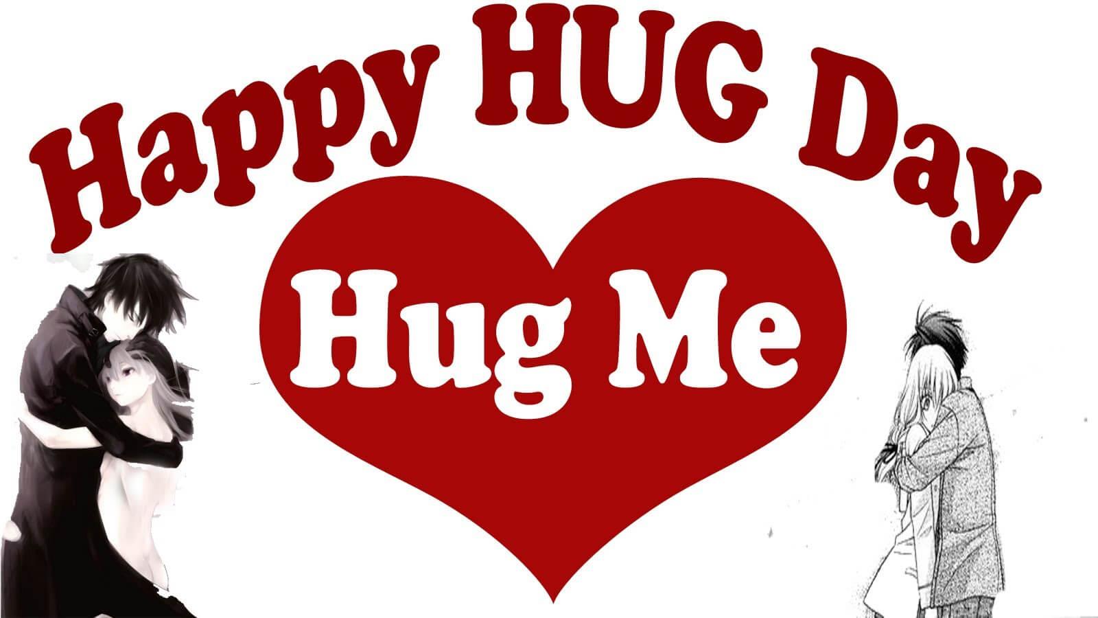 happy hug day hug me text displayed in heart image hd wallpaper