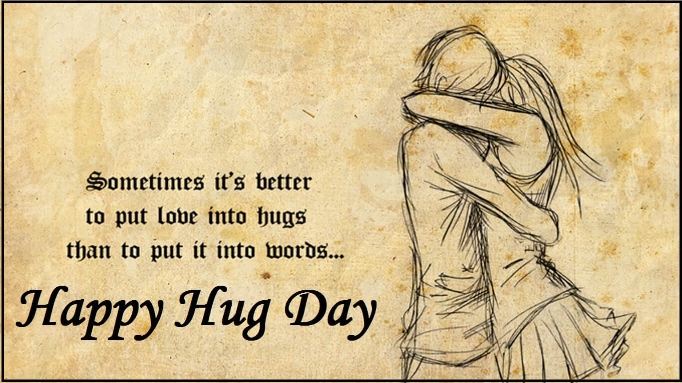 happy hug day wishes love romantic couples sketch graphic quotes hd wallpaper