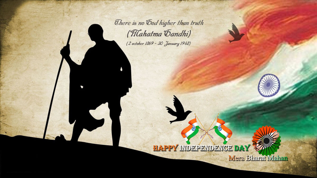 happy india independence day august 15th mahatma gandhi