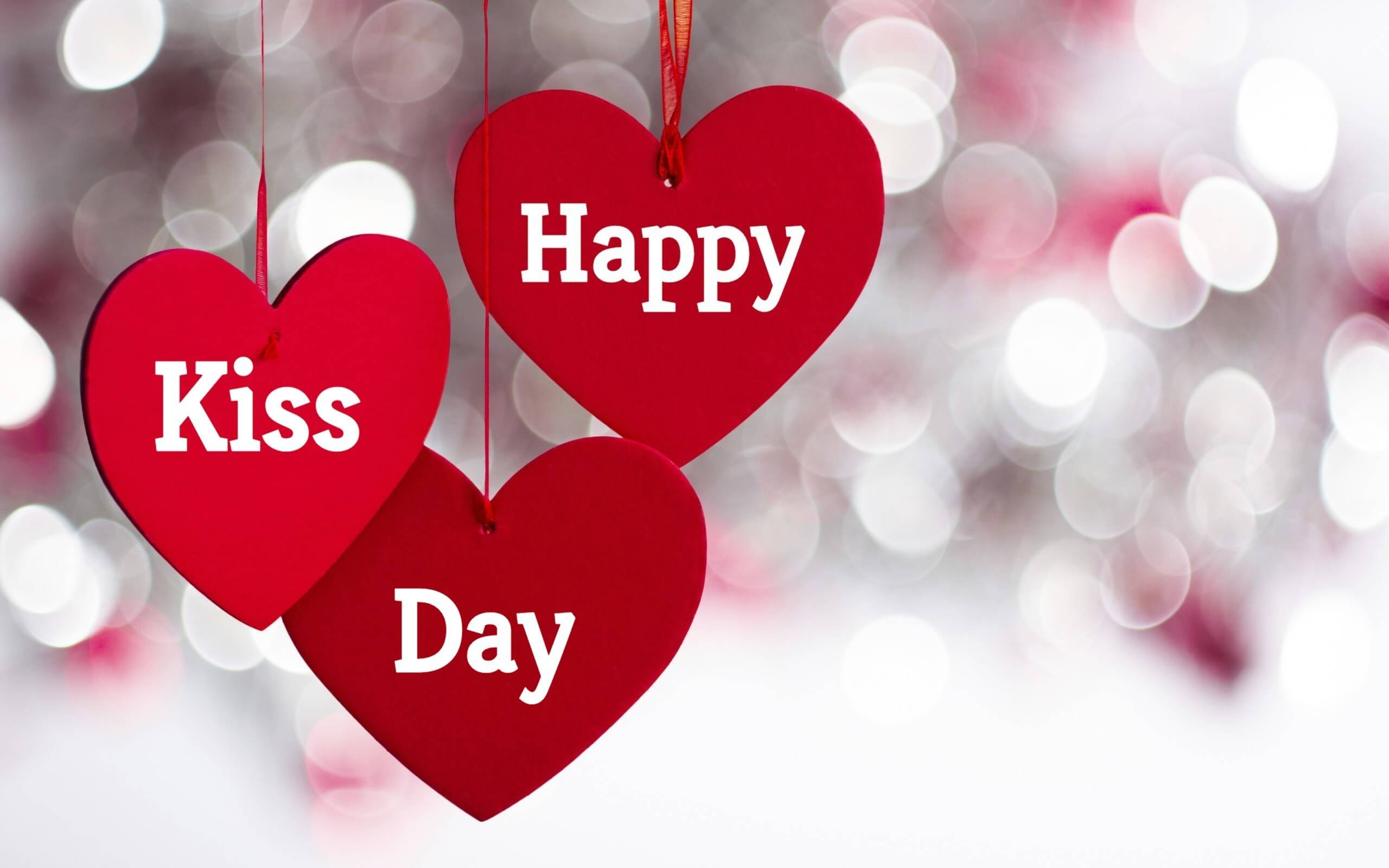 happy kiss day wishes hanging hearts love valentine february 12th hd wallpaper