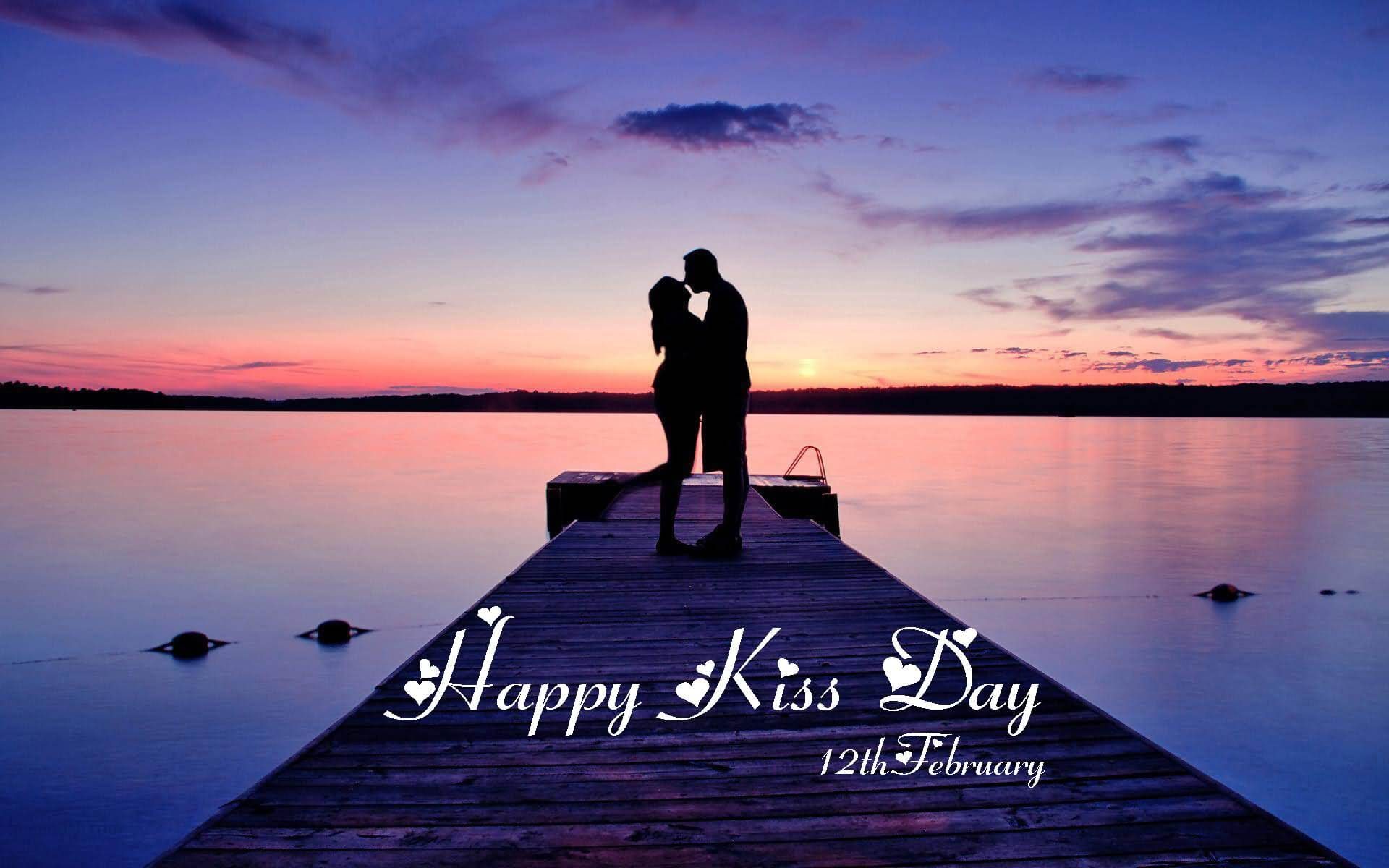 happy kiss day wishes love romantic couples 12th february picture hd wallpaper