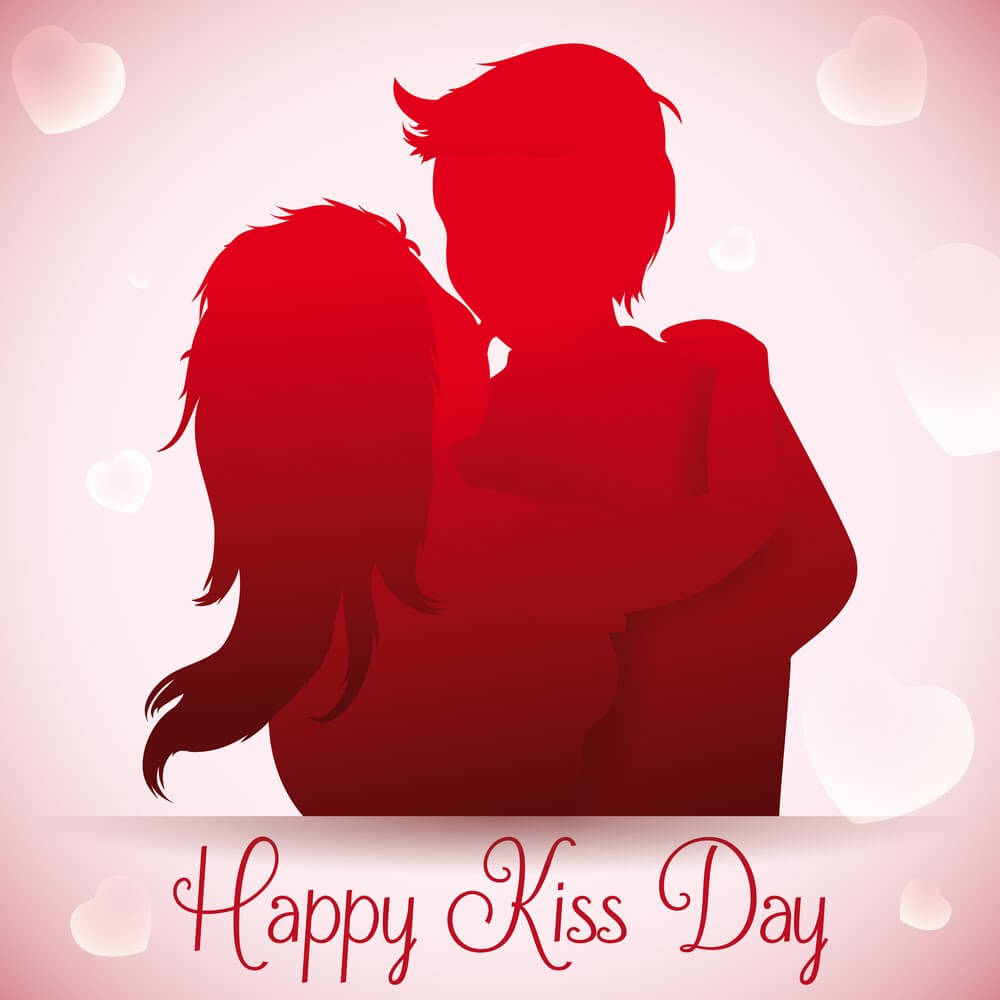 happy kiss day wishes love romantic couples valentine graphic picture hd wallpaper