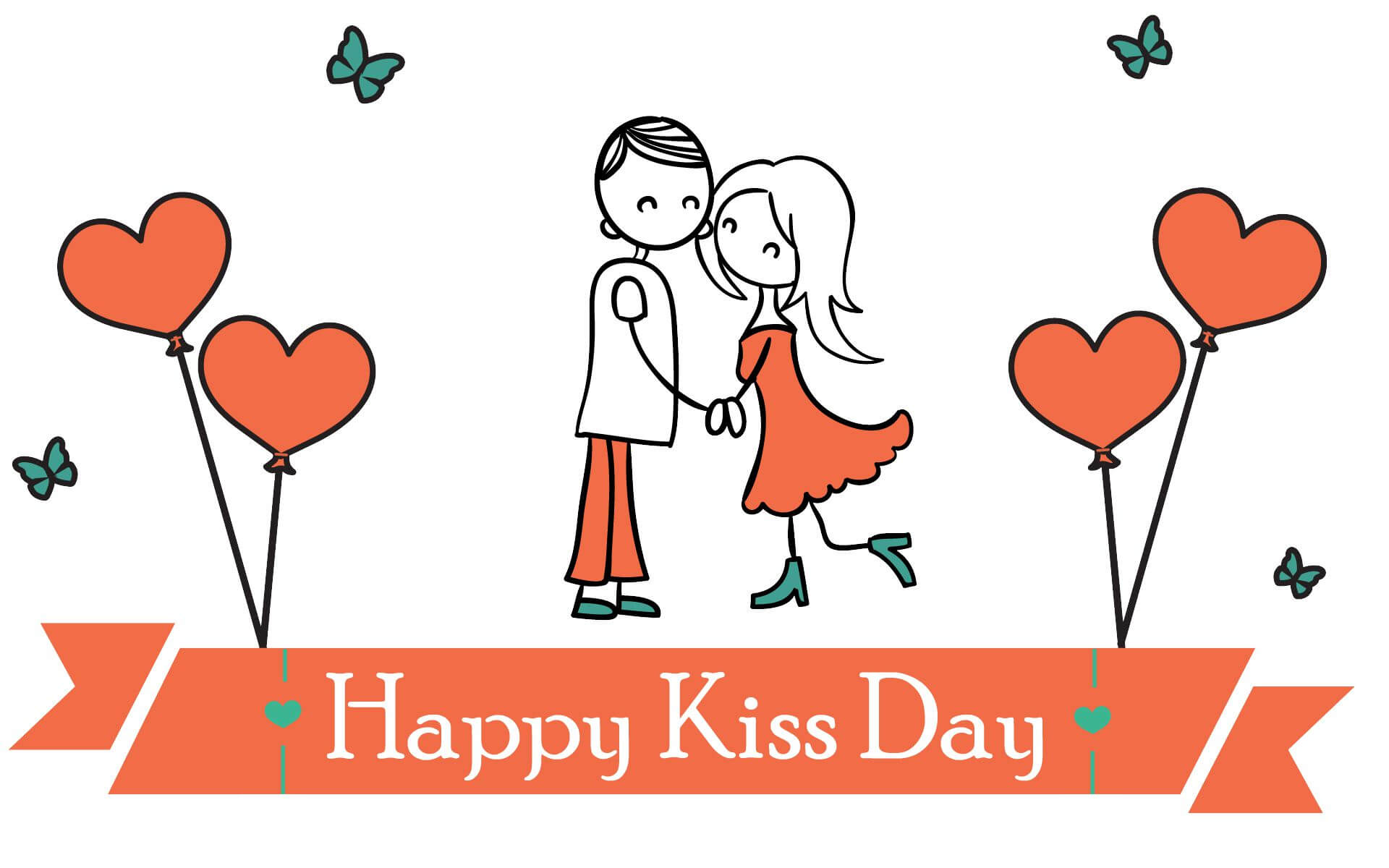 happy kiss day wishes love valentine february 12th cartoon image hd wallpaper