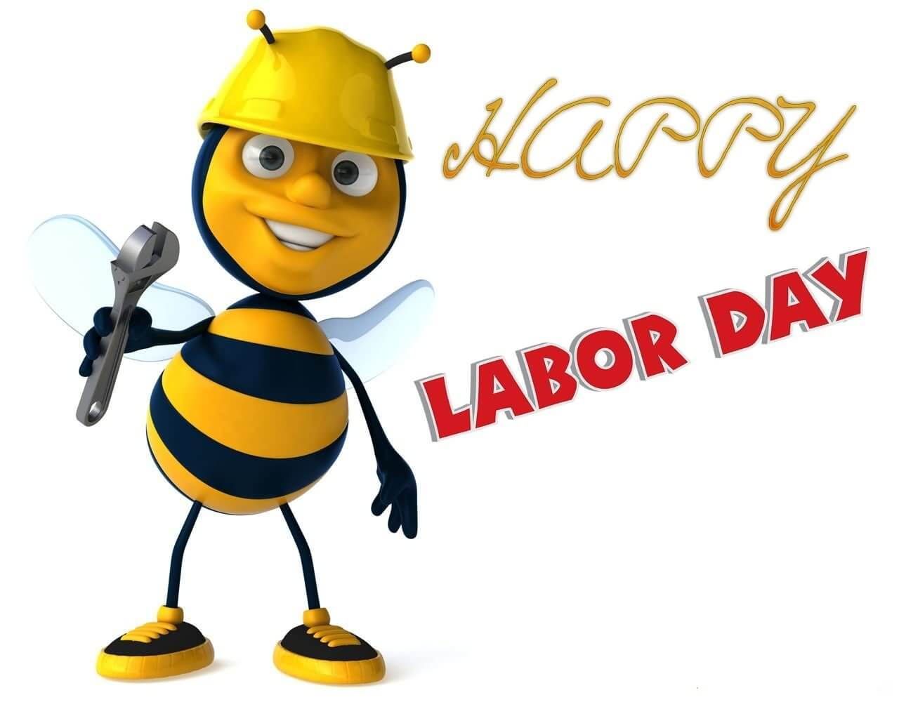 happy labor day 3d bumble bee clipart