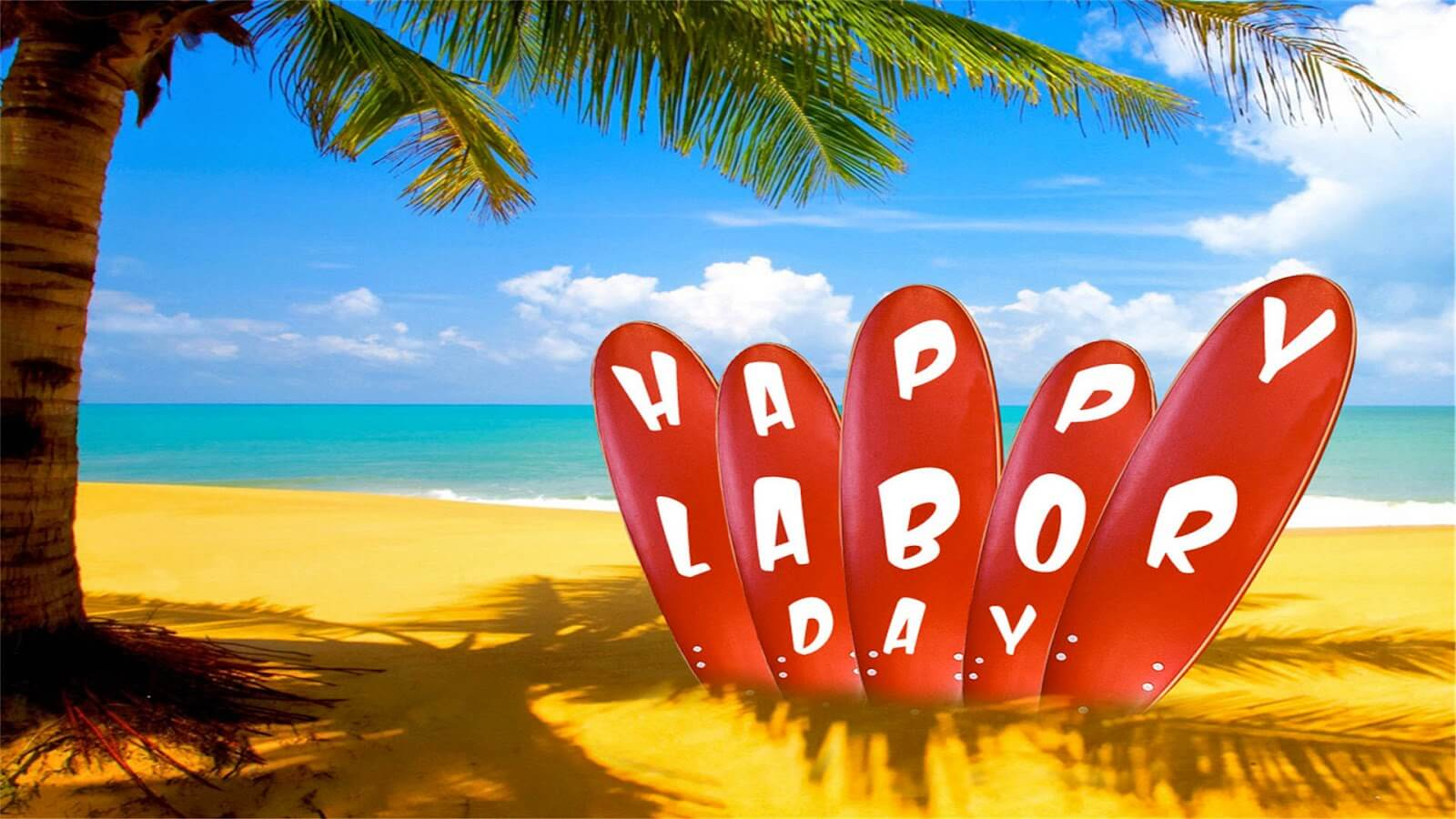 happy labor day surf board sea shore wallpaper