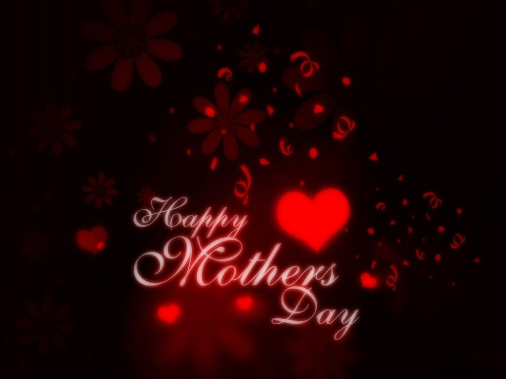 happy mothers day red hearts wishes hd wallpaper