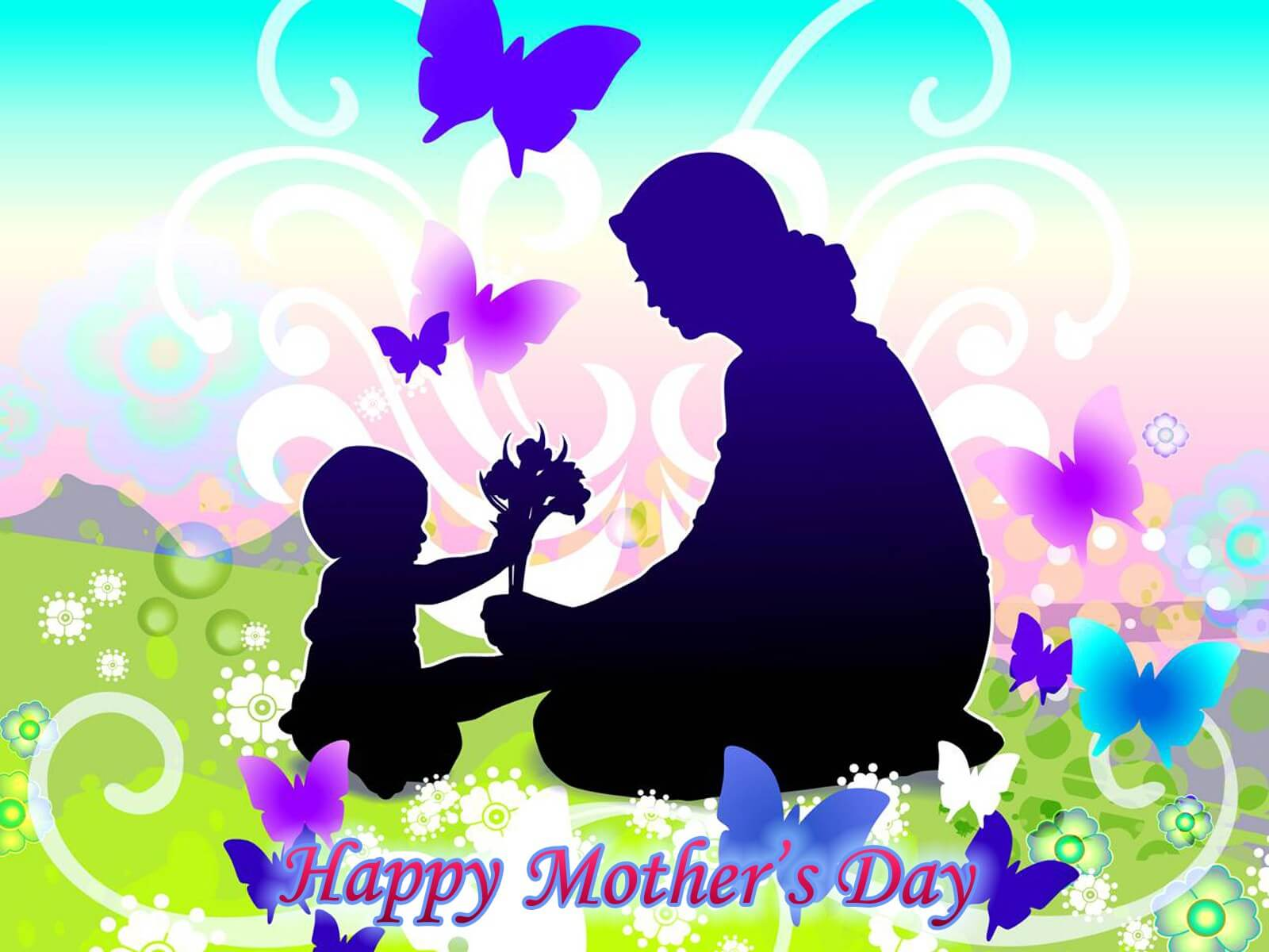 happy mothers day wishes hd wallpaper silhouette