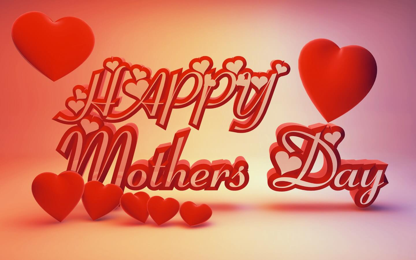 happy mothers day wishes hearts greeting card hd wallpaper