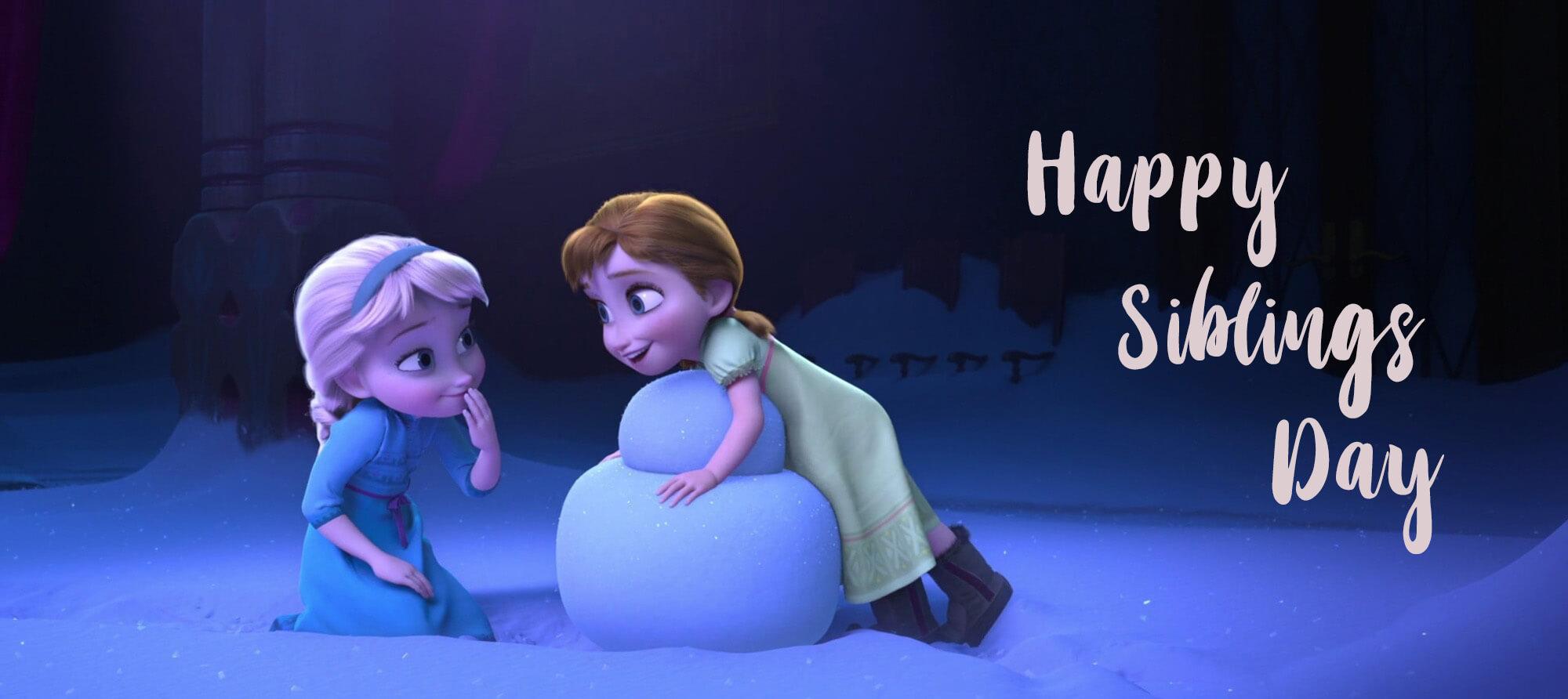 happy national siblings day anna elsa sisters kids frozen hd wallpaper