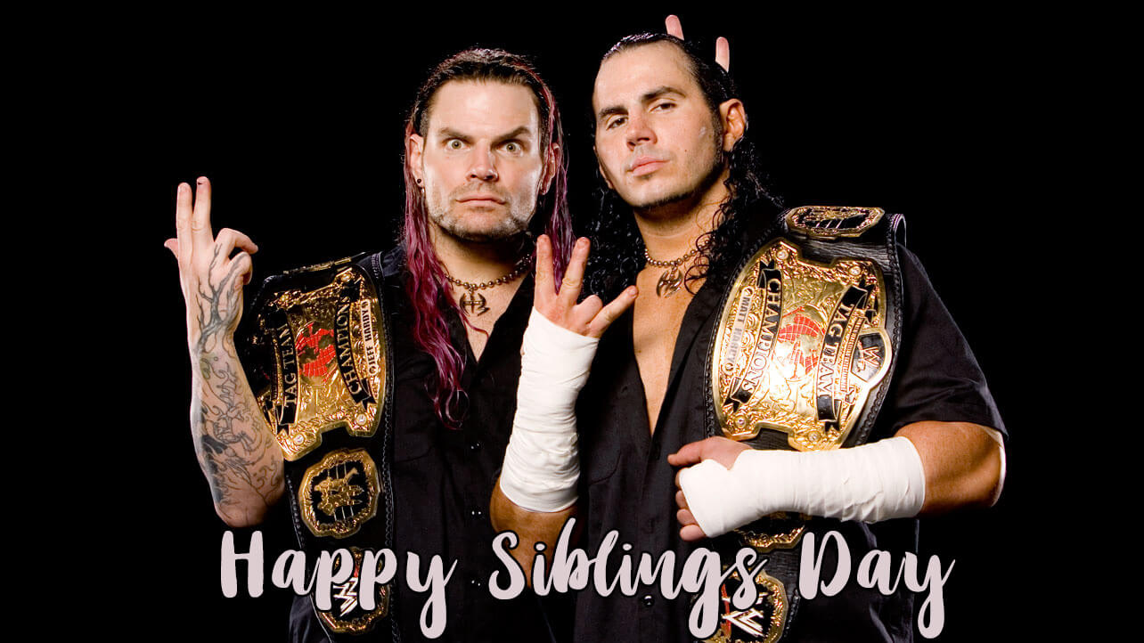 happy national siblings day jeff matt hardy brothers wwe hd wallpaper