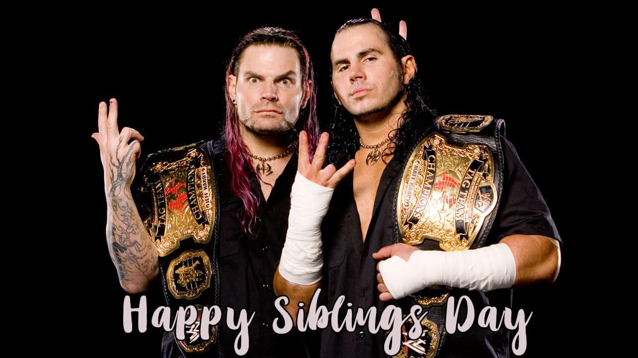 happy national siblings day jeff matt hardy brothers wwe hd wallpaper