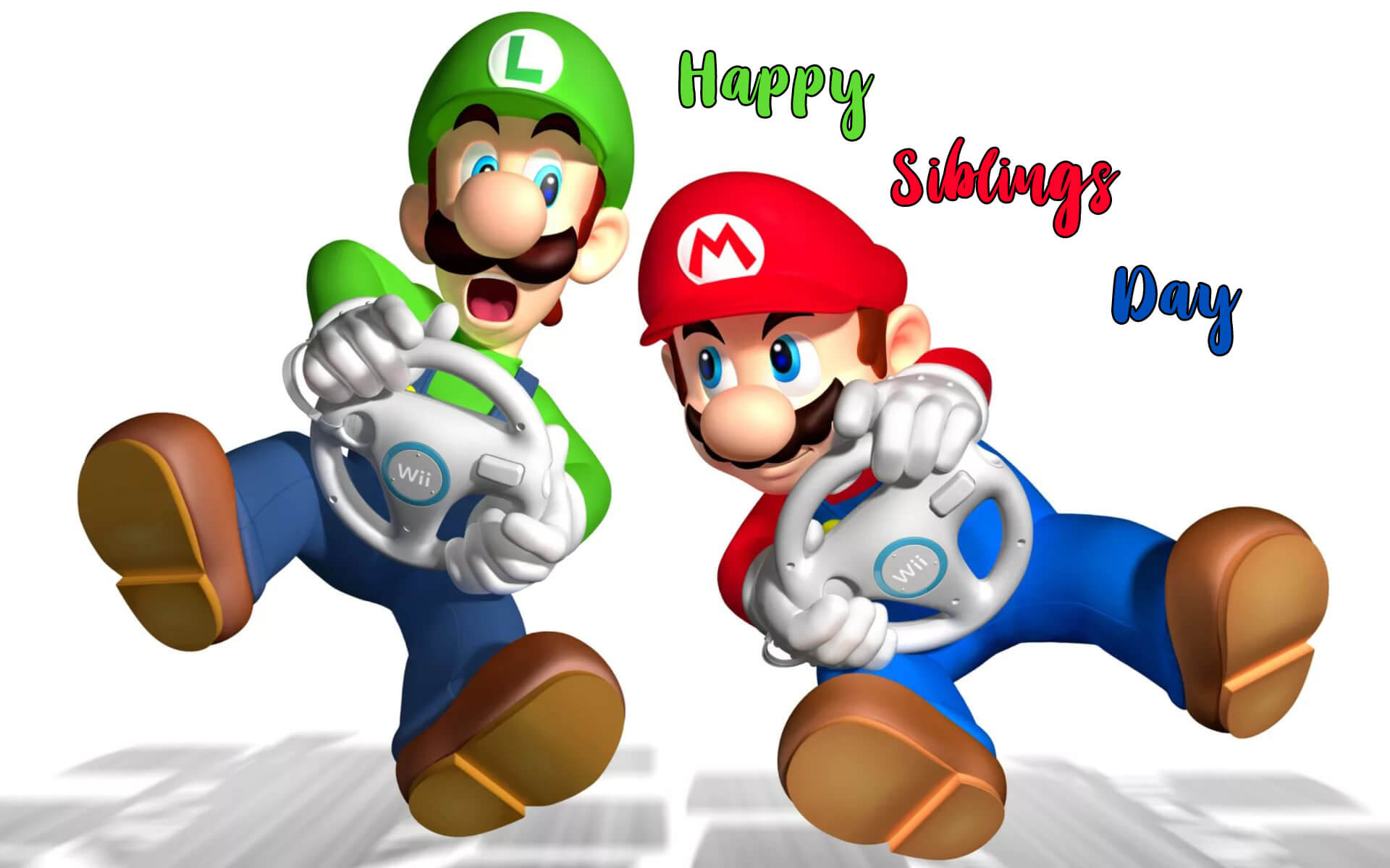 happy national siblings day mario luigi brothers hd wallpaper