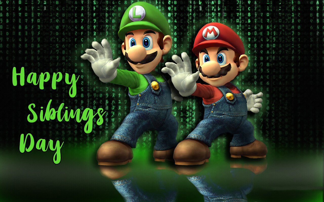 happy national siblings day mario luigi brothers matrix 3d hd wallpaper