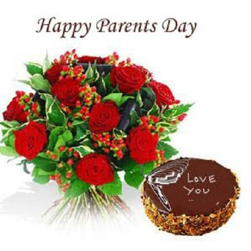 happy parents day greeting rose cake