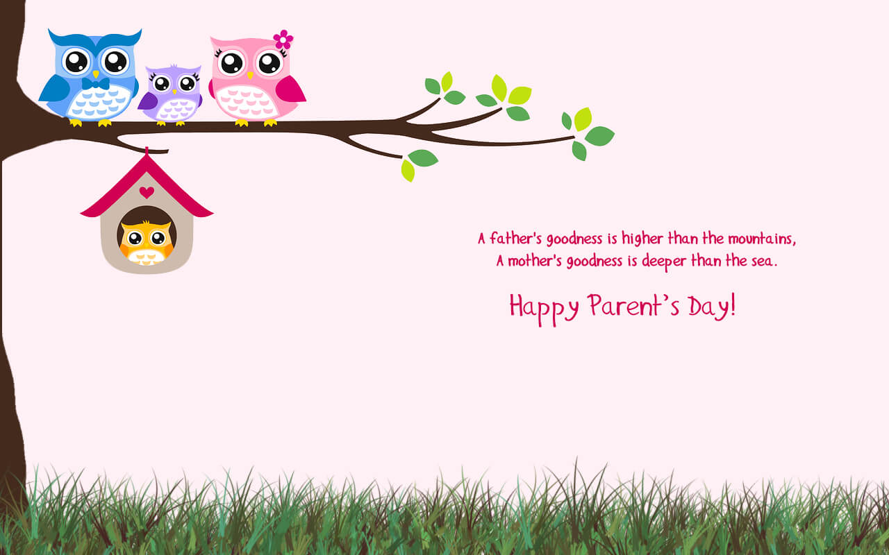 happy parents day greetings owl family birds wallpaper