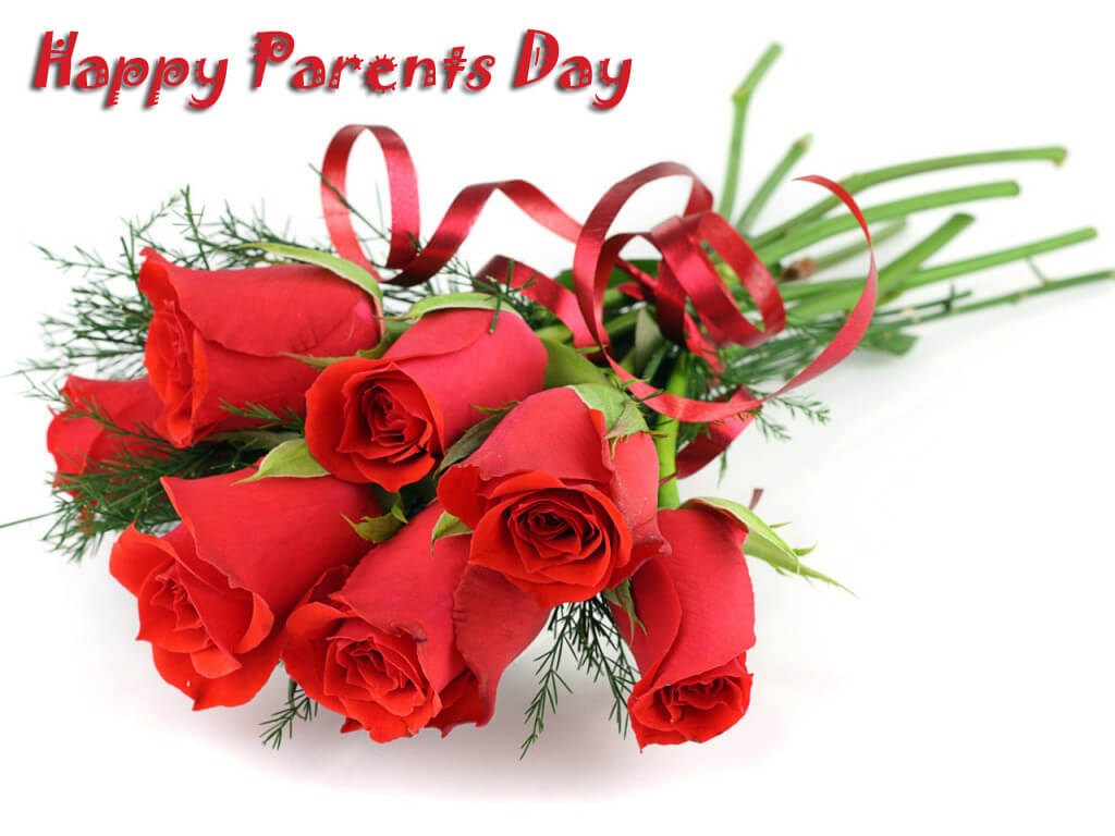 happy parents day red roses bouquet greetings