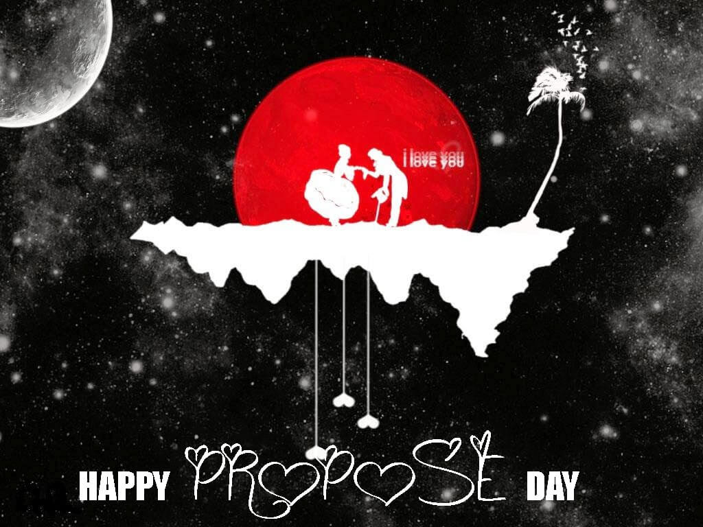 happy propose day couples on space moon february 8th hd wallpaper