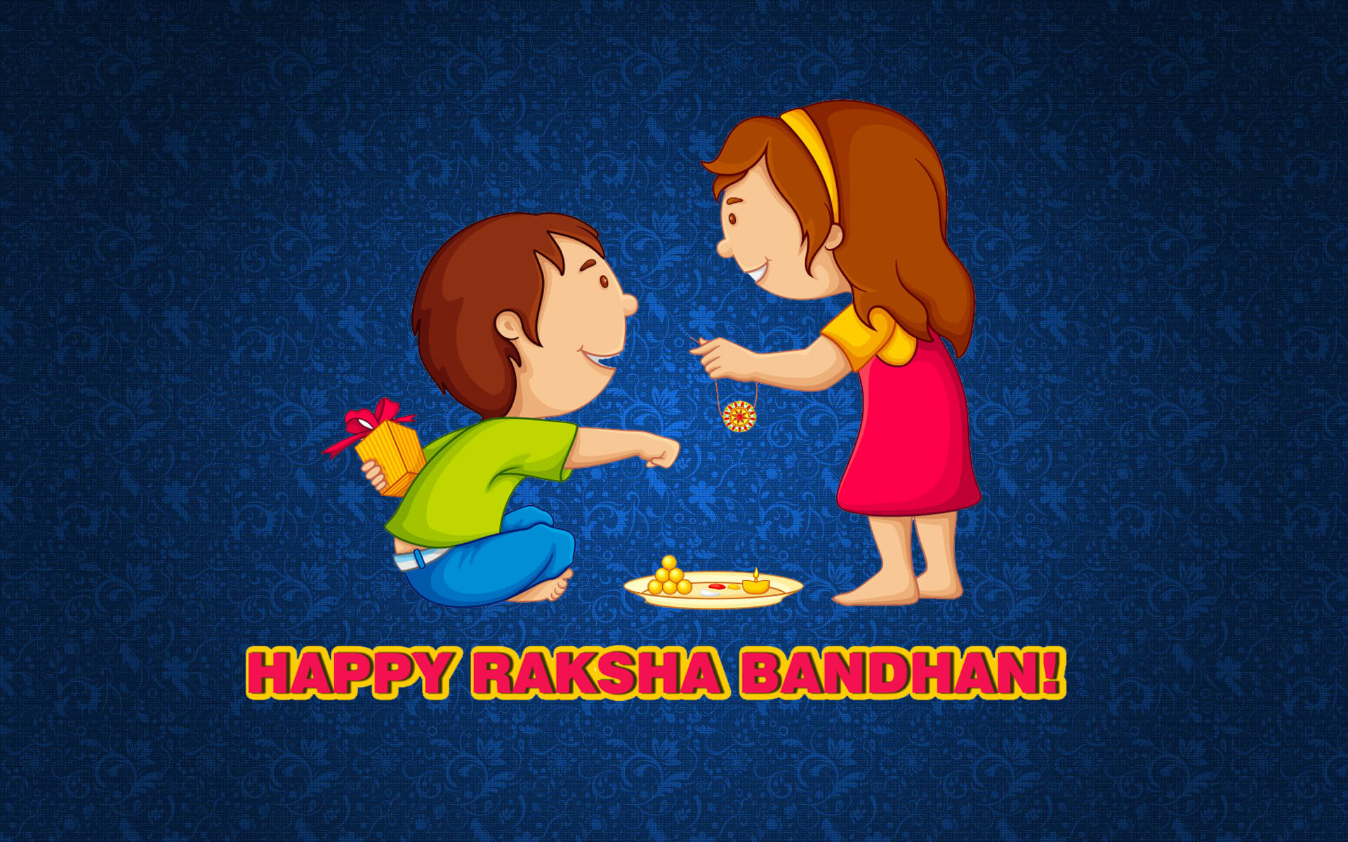 happy raksha bandhan cartoon hd wallpaper