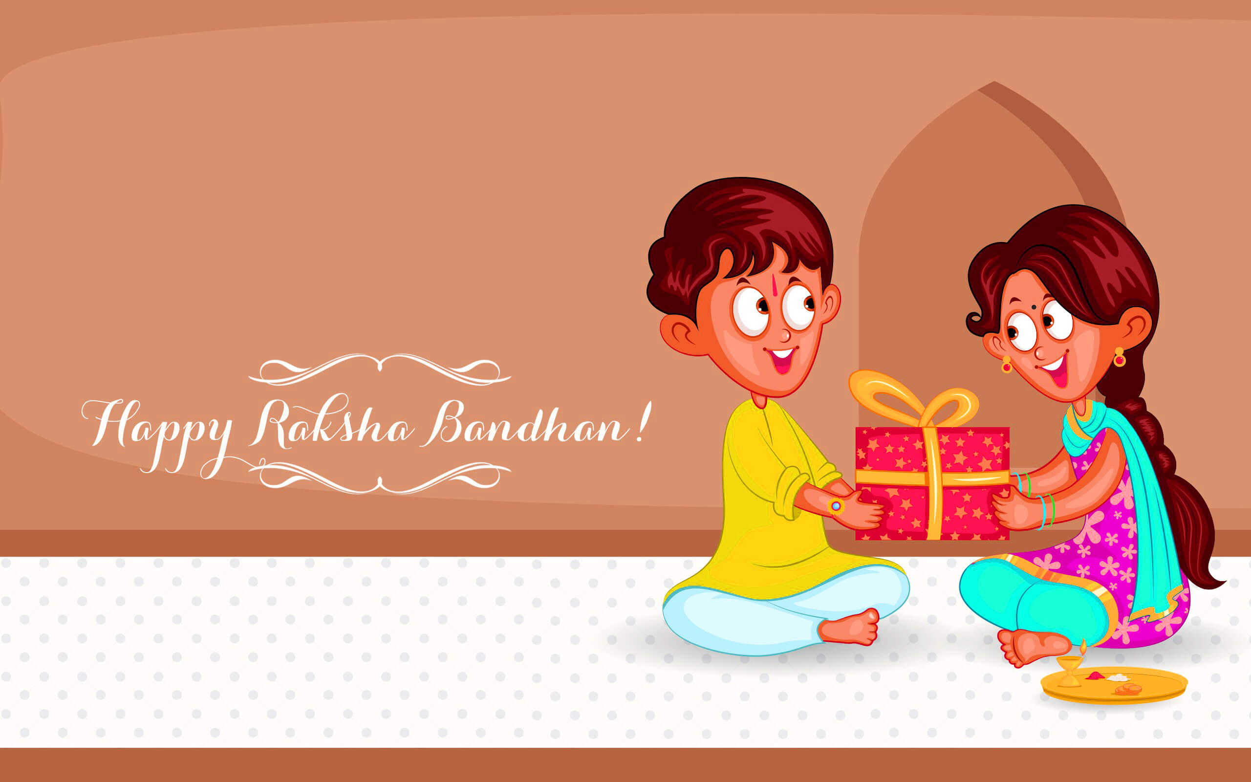happy raksha bandhan gifts cartoon hd wallpaper