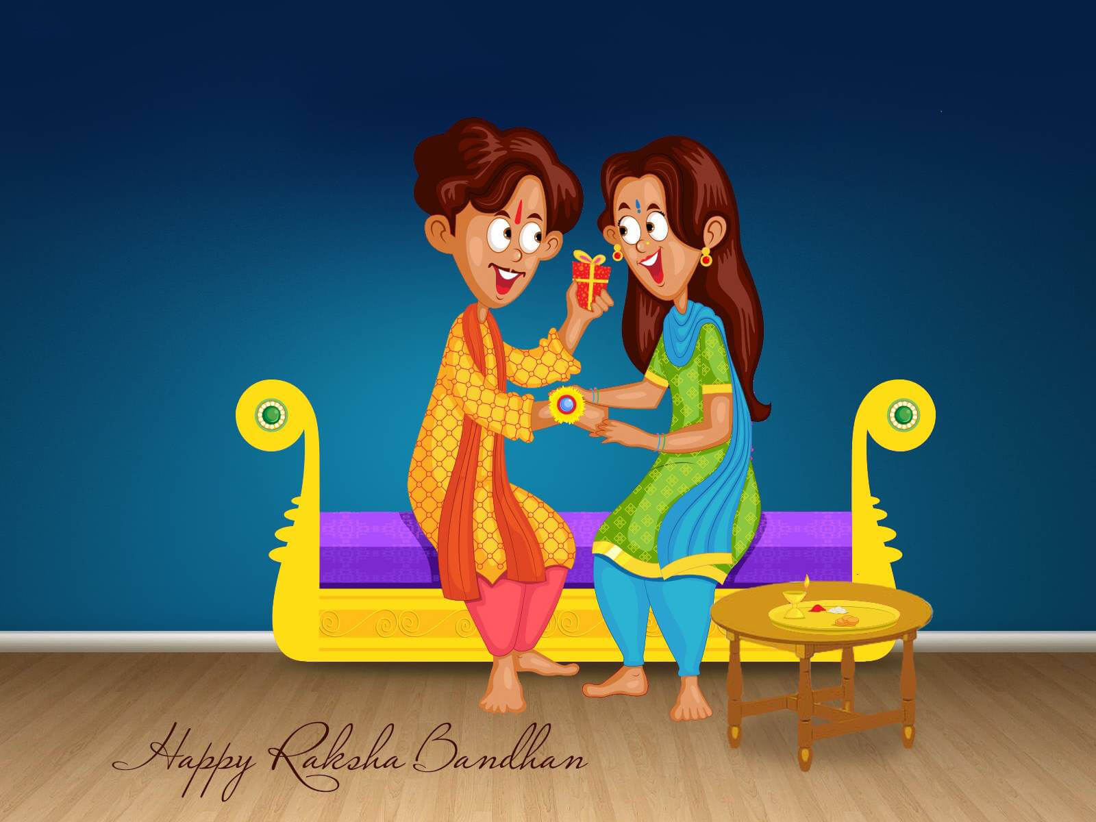 happy raksha bandhan hd cartoon wallpaper