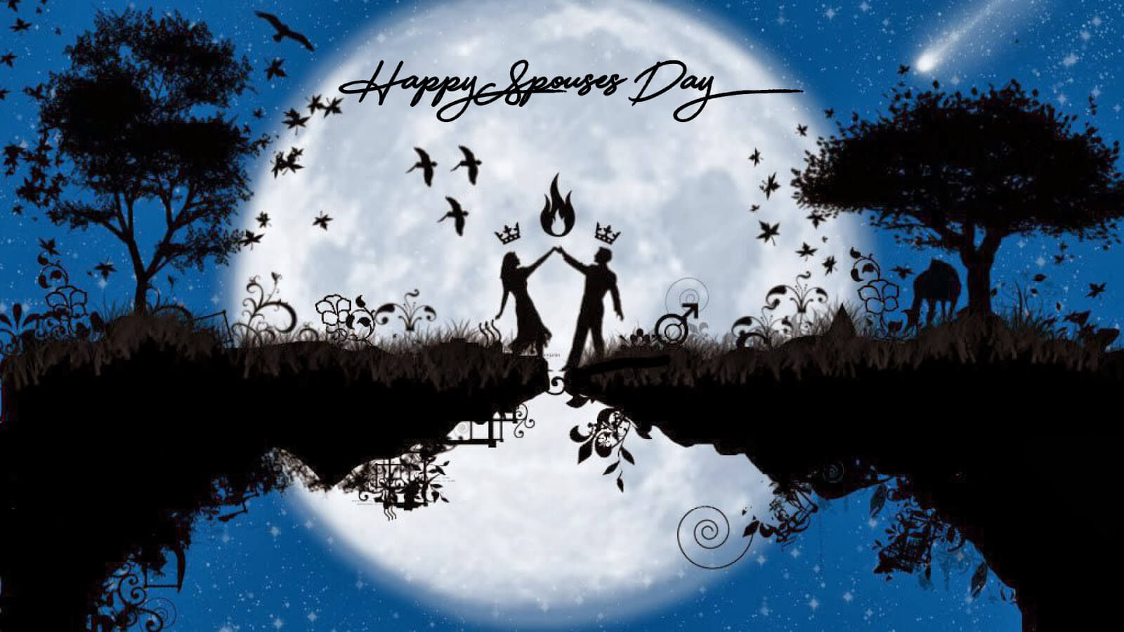 happy spouses day wishes greetings romantic moon dance hd wallpaper