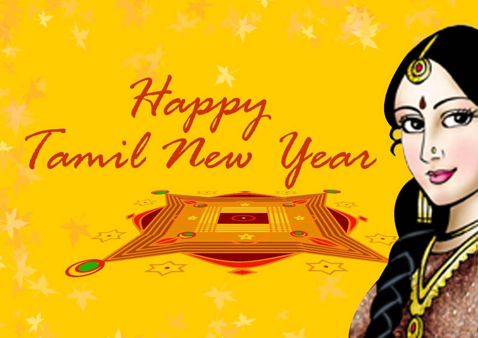 happy tamil new year wishes girl kolam hd wallpaper