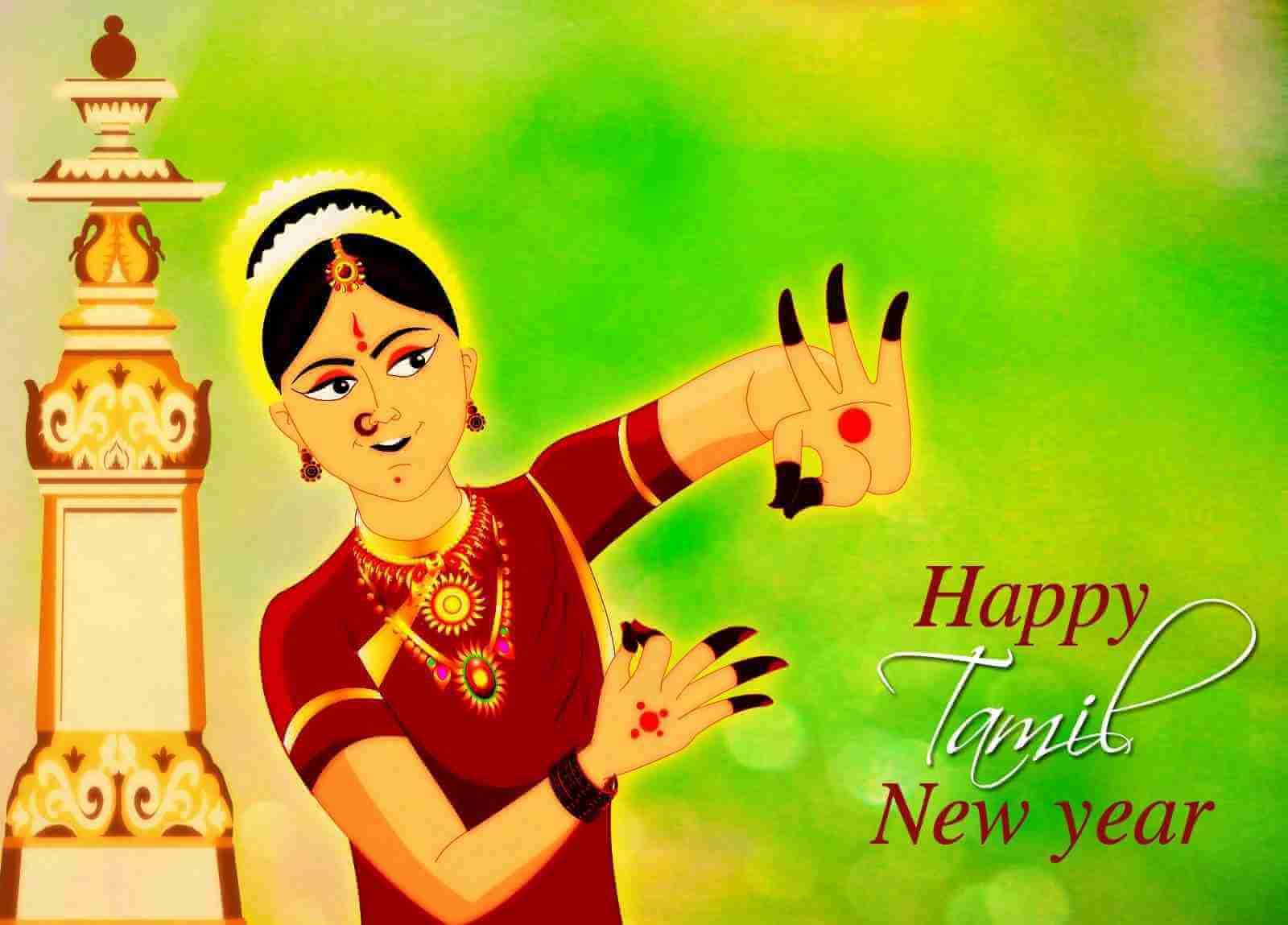 happy tamil new year wishes greetings lady girl dance hd wallpaper