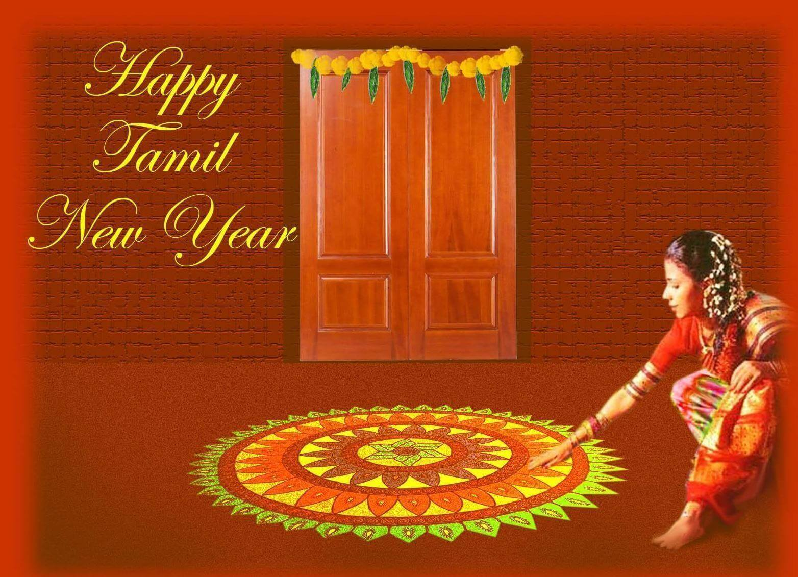 happy tamil new year wishes puthaandu kolam hd wallpaper