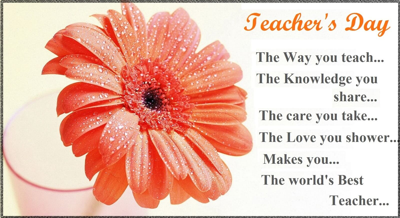 happy teachers day flower greetings wishes wallpaper