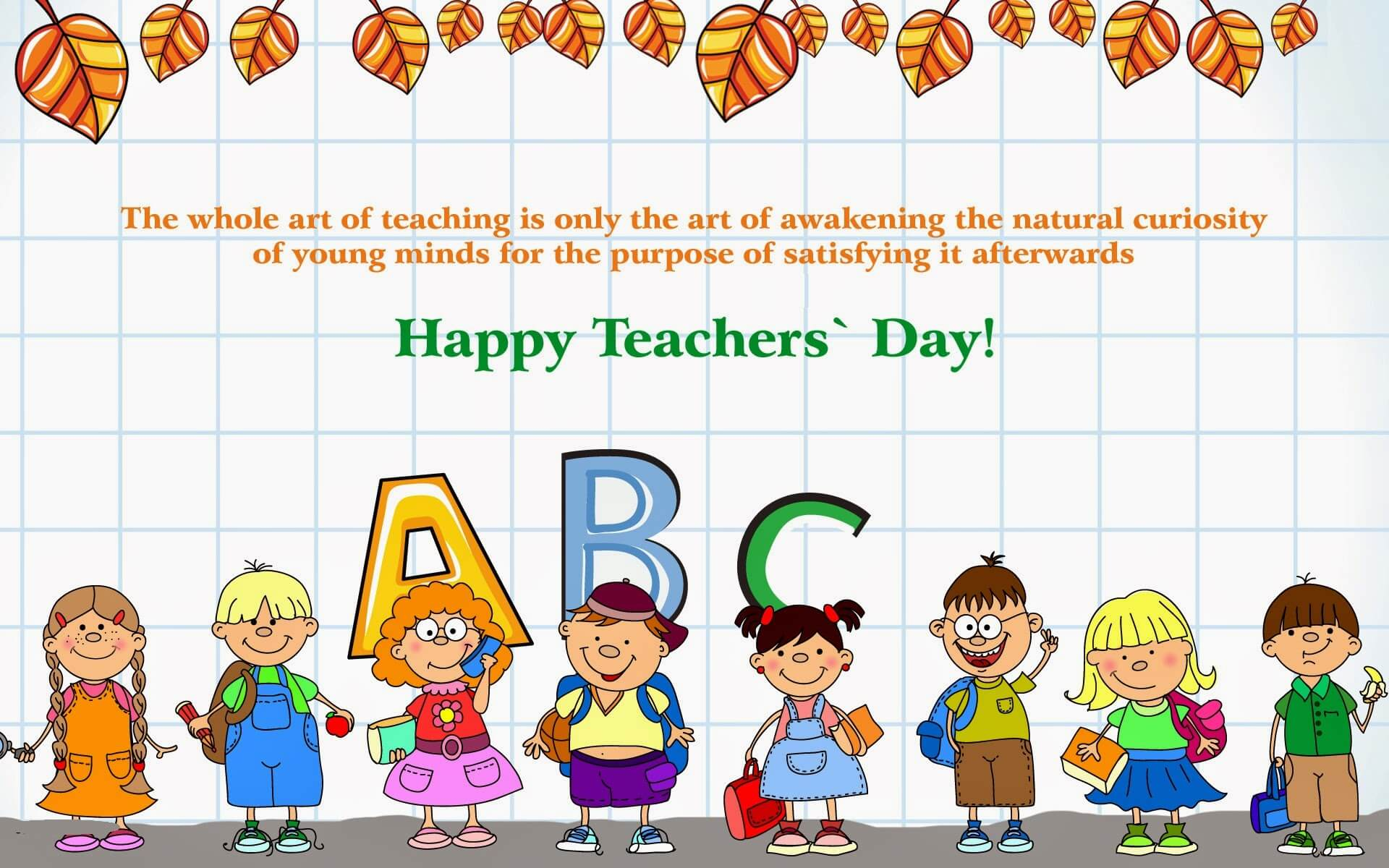 happy teachers day quotes cartoon kids wallpaper