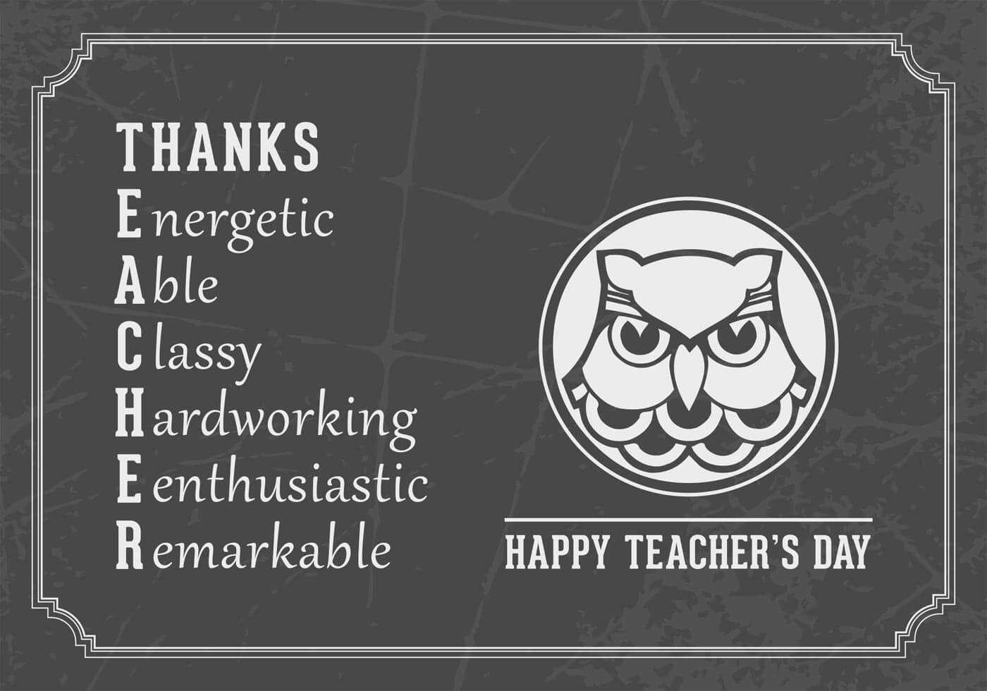 happy teachers day wishes expansion vector card