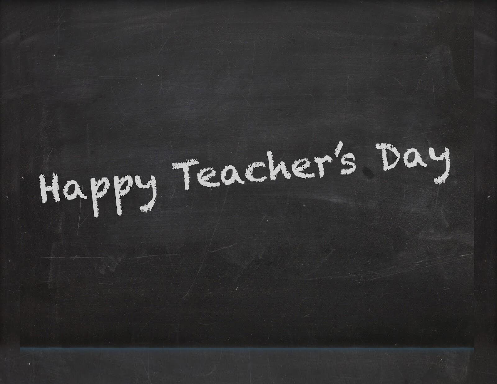 happy teachers day wishes on a blackboard