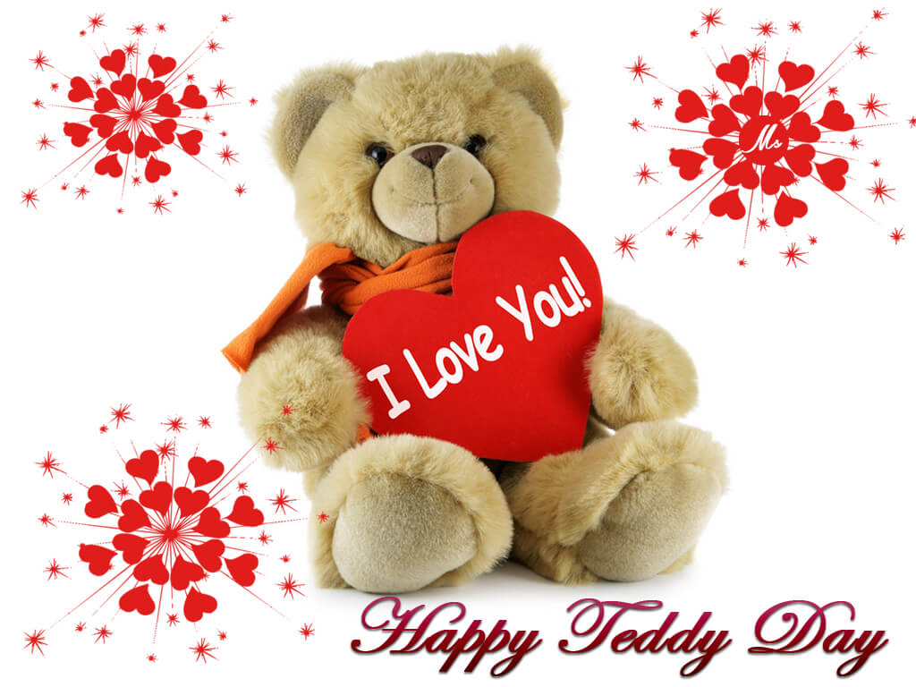 happy teddy day bear february 10th holding i love you hd wallpaper