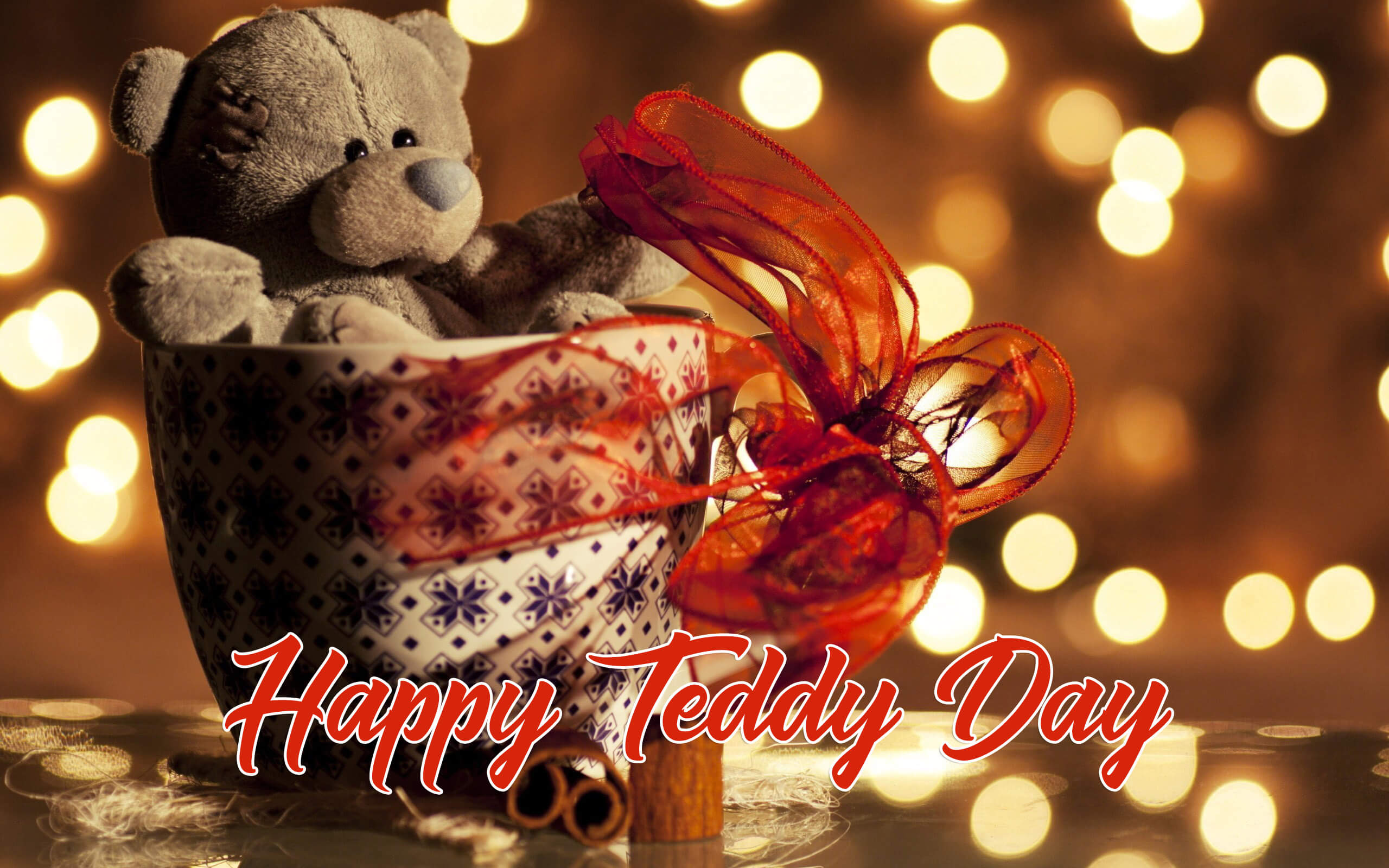 happy teddy day bear in cup valentine graphic large background hd wallpaper