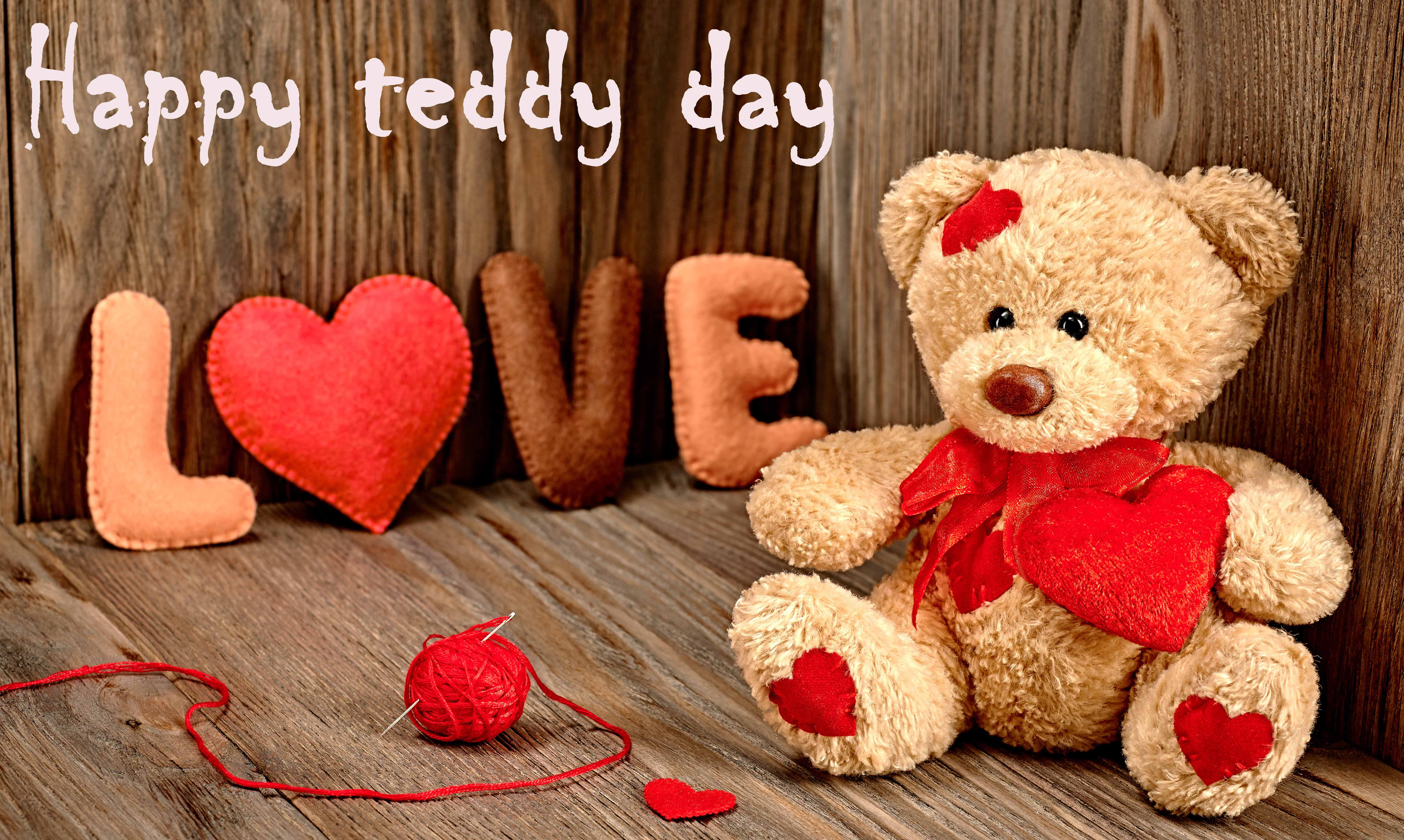 happy teddy day bear with love valentine large hd wallpaper