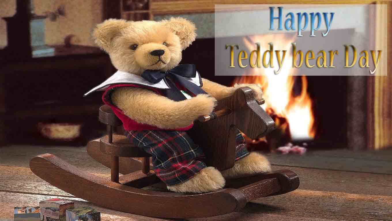 happy teddy day wishes bear in rocker image february 10th hd wallpaper
