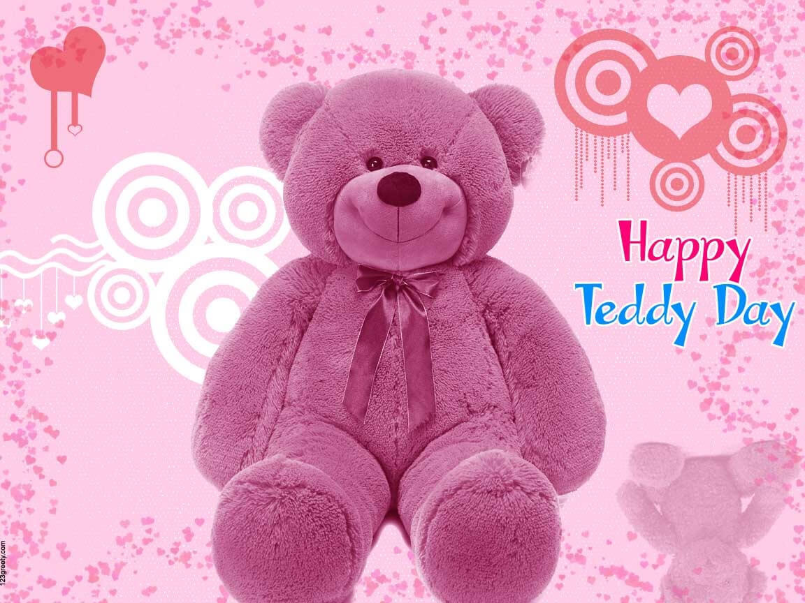 happy teddy day wishes pink bear image valentine desktop hd wallpaper