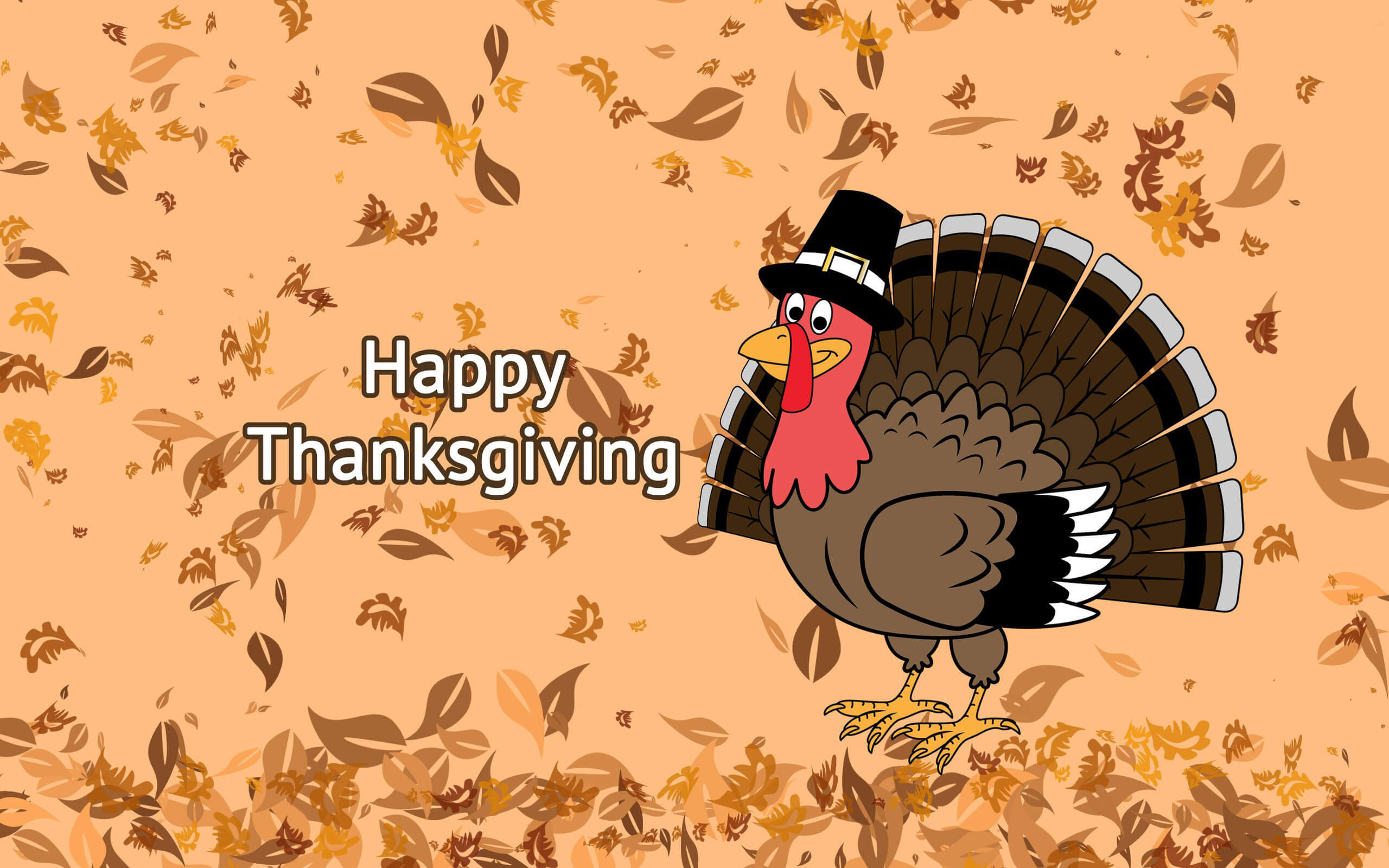 happy thanksgiving day falling leaves on turkey background hd wallpaper