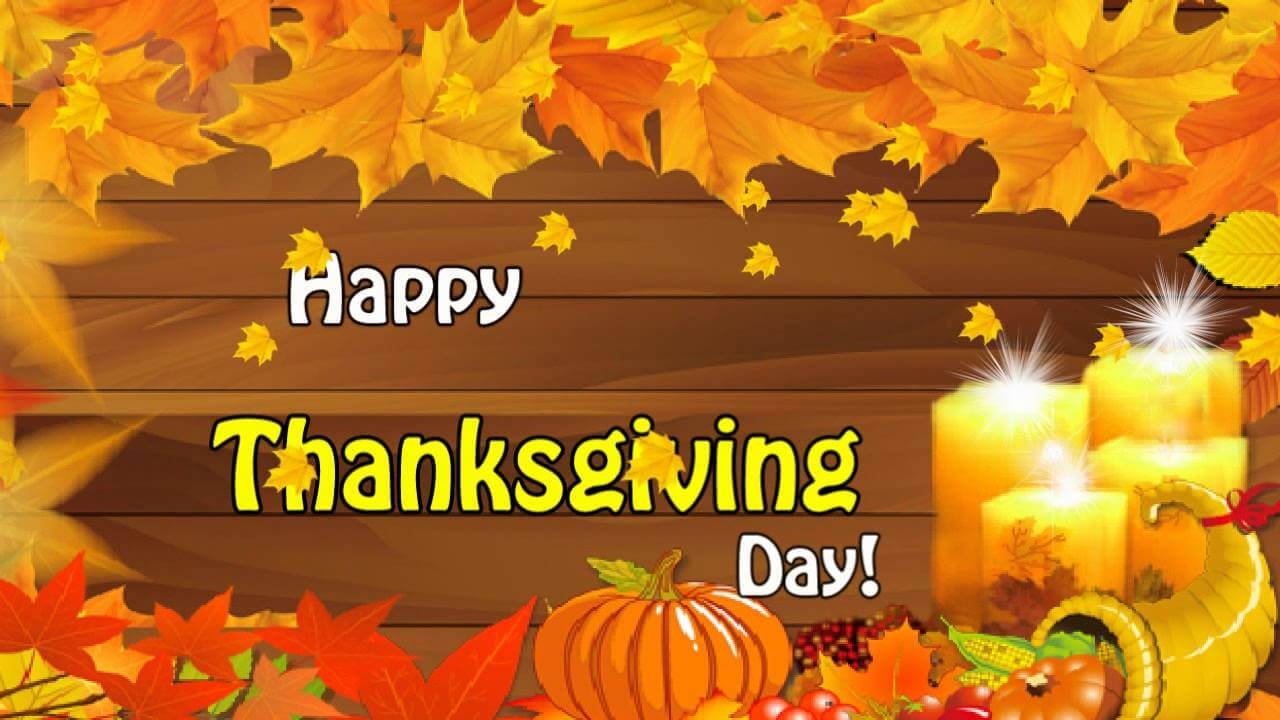 happy thanksgiving day pumpkin candles leaves background hd wallpaper