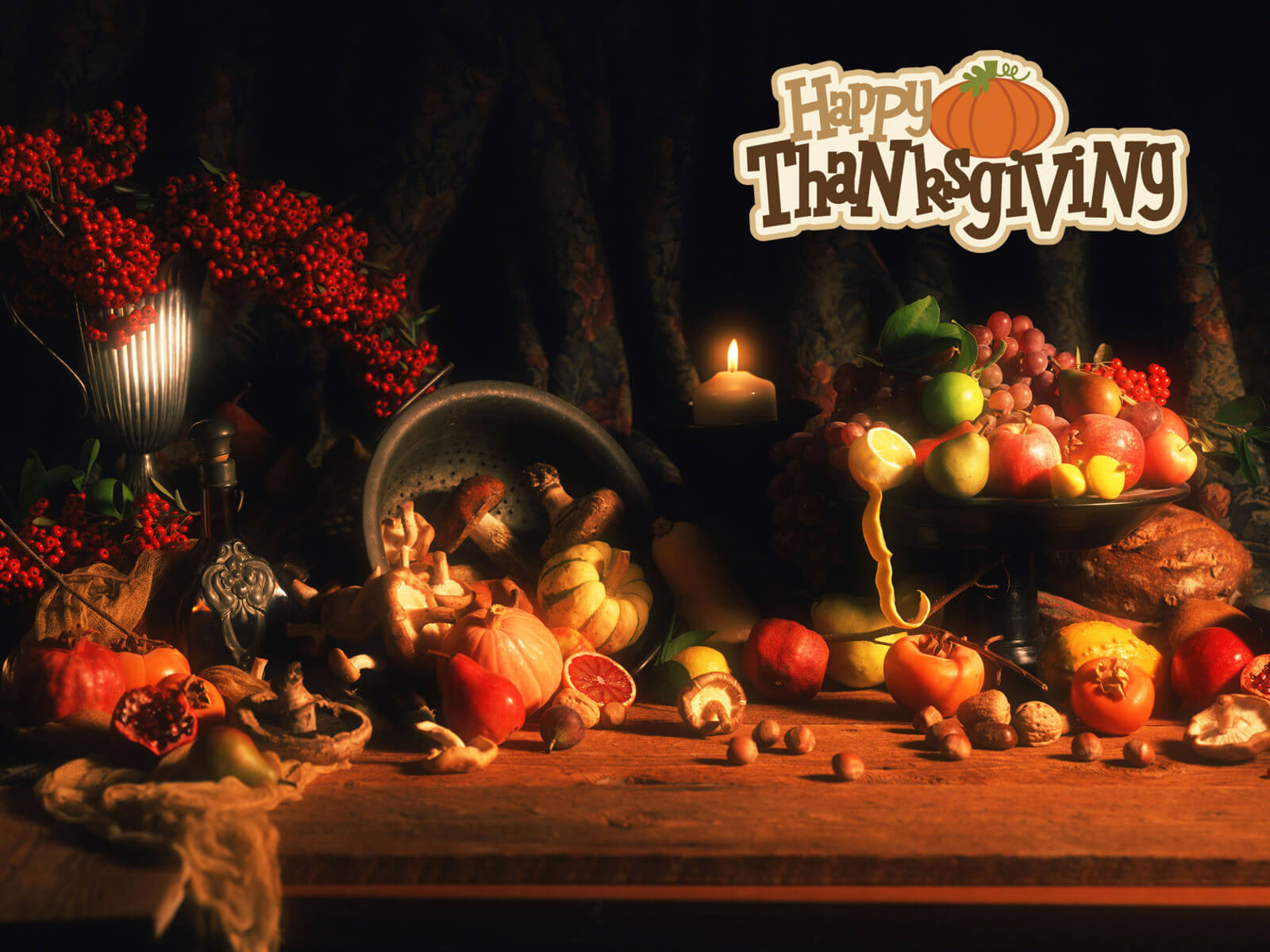 happy thanksgiving day pumpkin fruits flowers cute hd wallpaper
