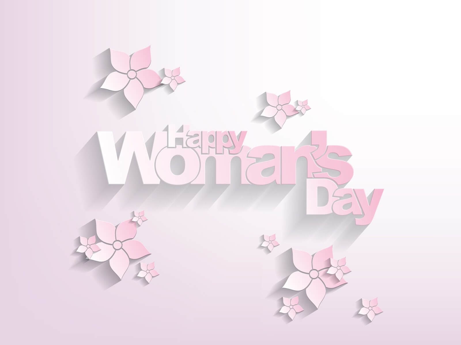 happy womans day flowers on pink background wallpaper