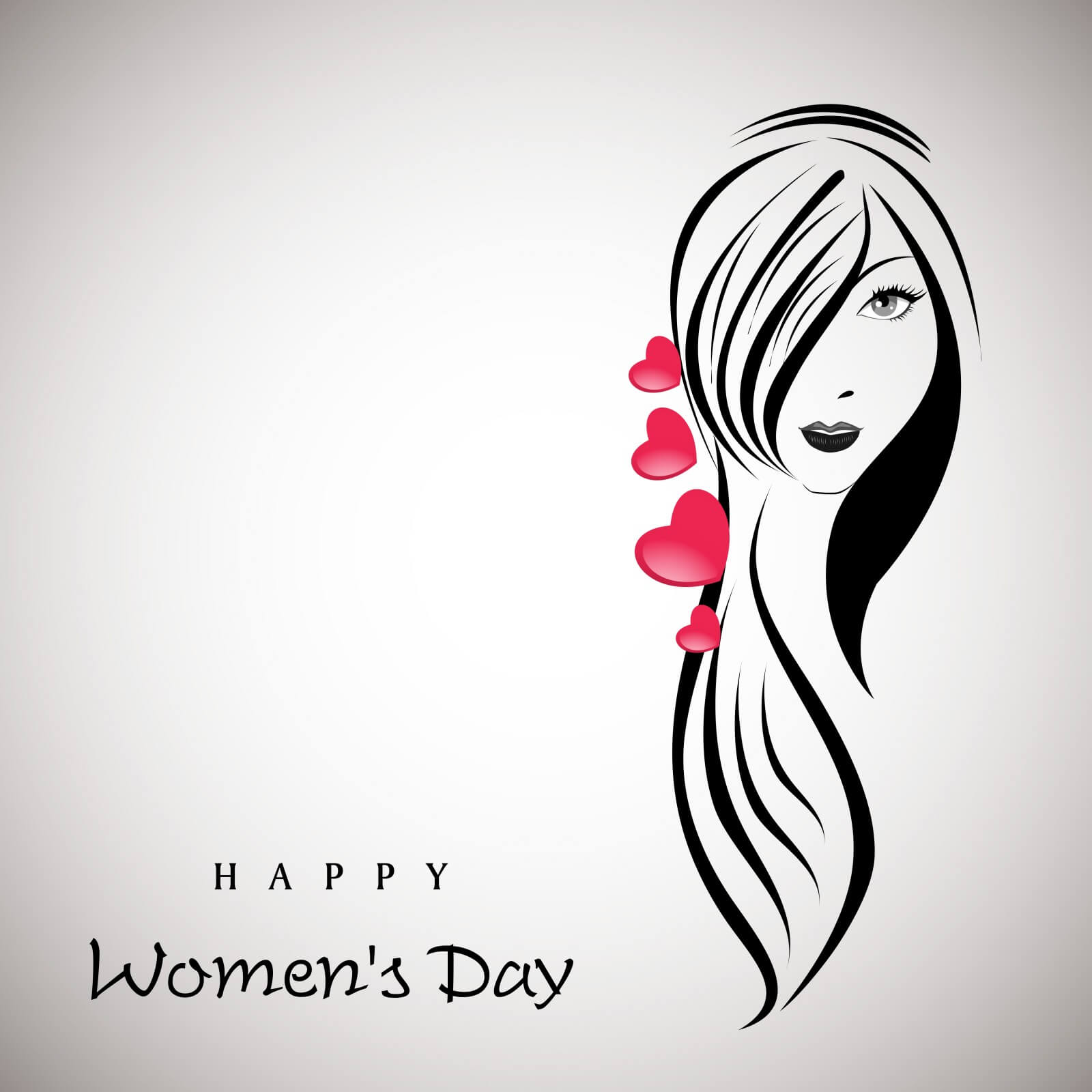 happy womens day beautiful girl with long hairs
