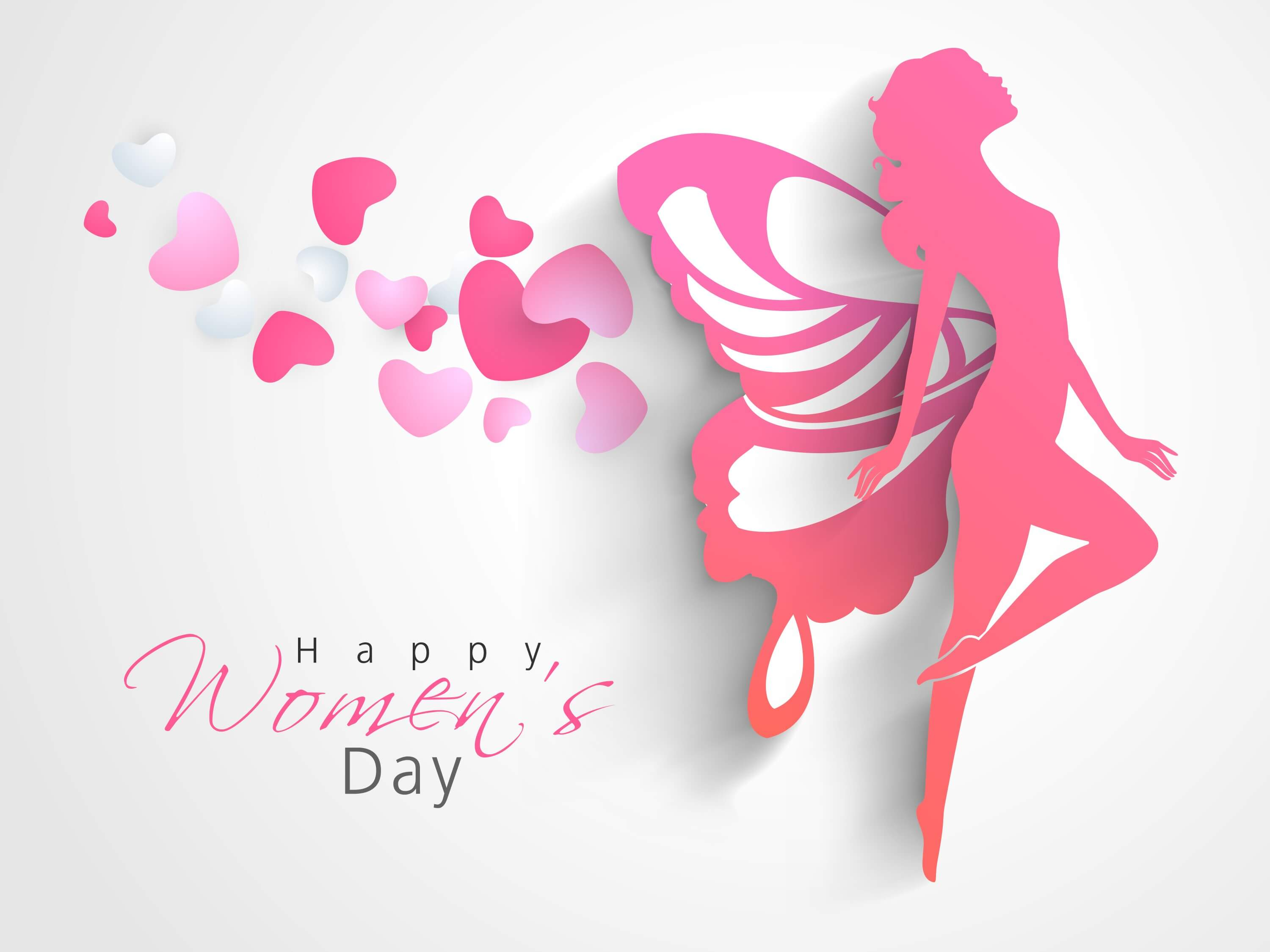 happy womens day vector on pink background wallpaper